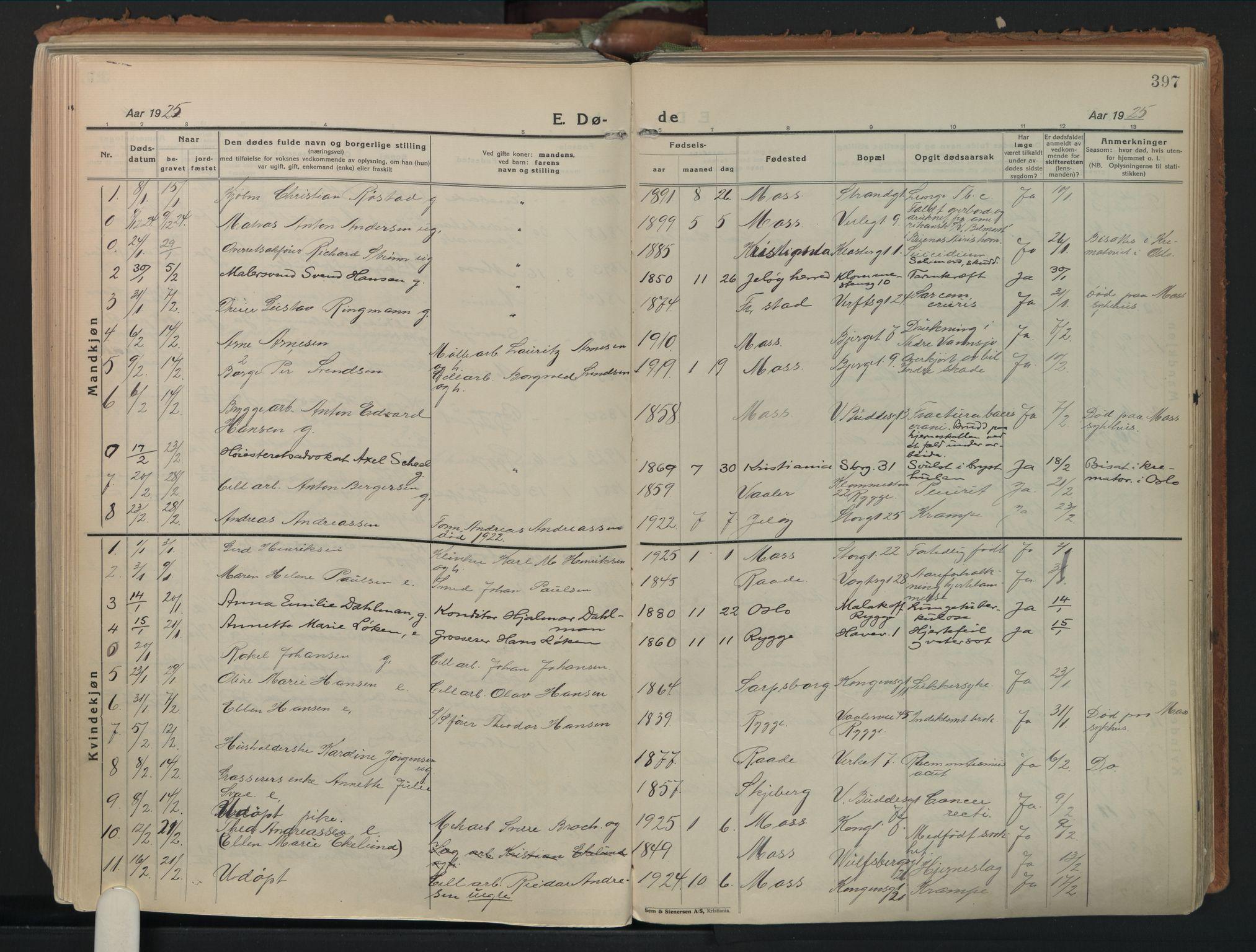 SAO, Moss prestekontor Kirkebøker, F/Fb/Fab/L0006: Ministerialbok nr. II 6, 1924-1932, s. 397