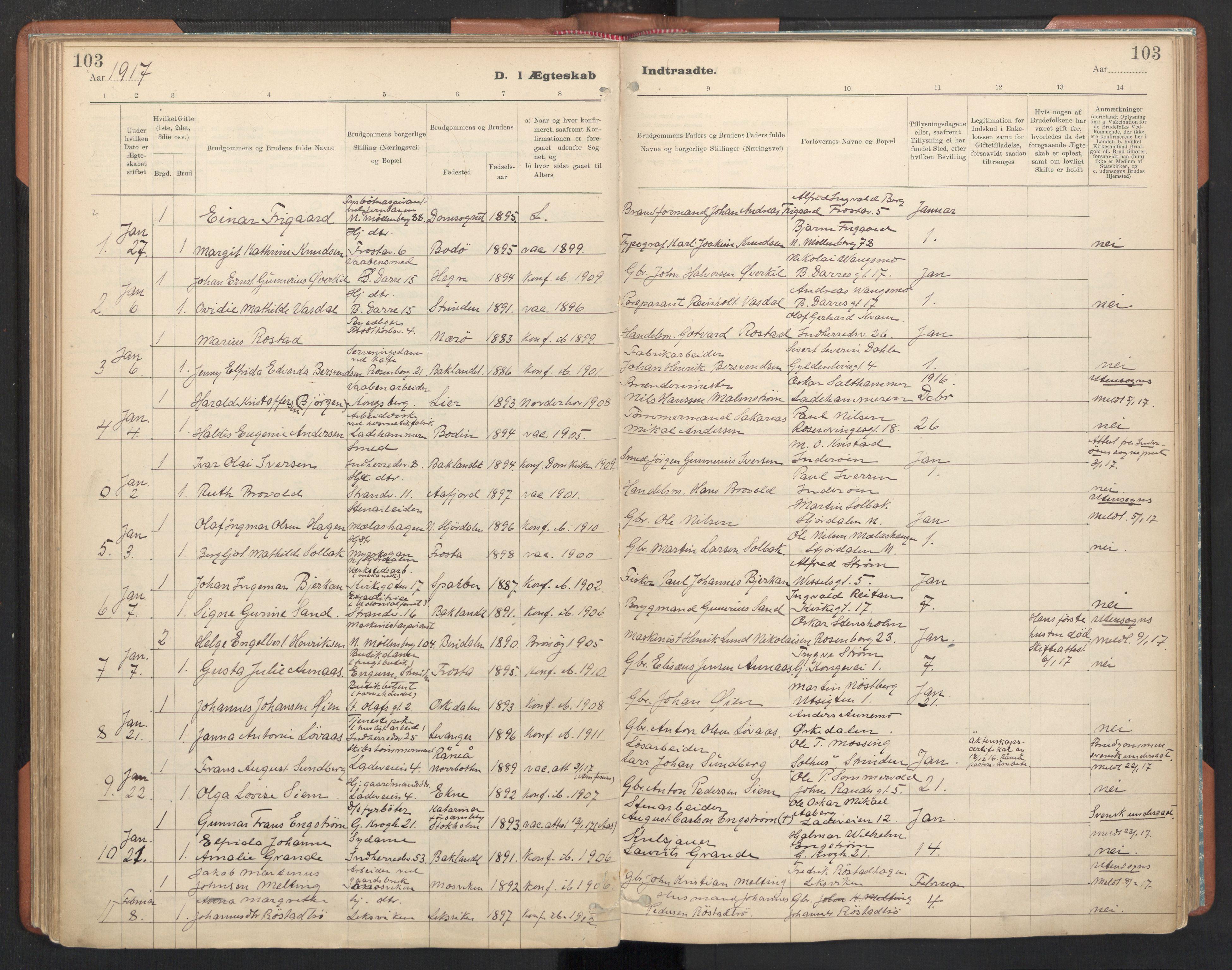 SAT, Ministerialprotokoller, klokkerbøker og fødselsregistre - Sør-Trøndelag, 605/L0244: Ministerialbok nr. 605A06, 1908-1954, s. 103