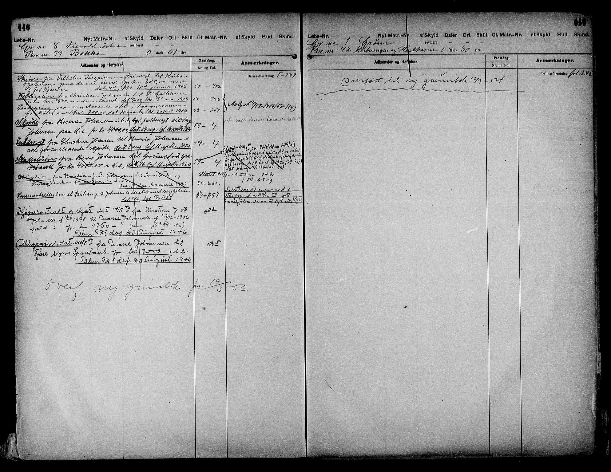SAK, Vestre Nedenes/Sand sorenskriveri, G/Ga/L0018: Panteregister nr. 13b, 1872-1956, s. 446