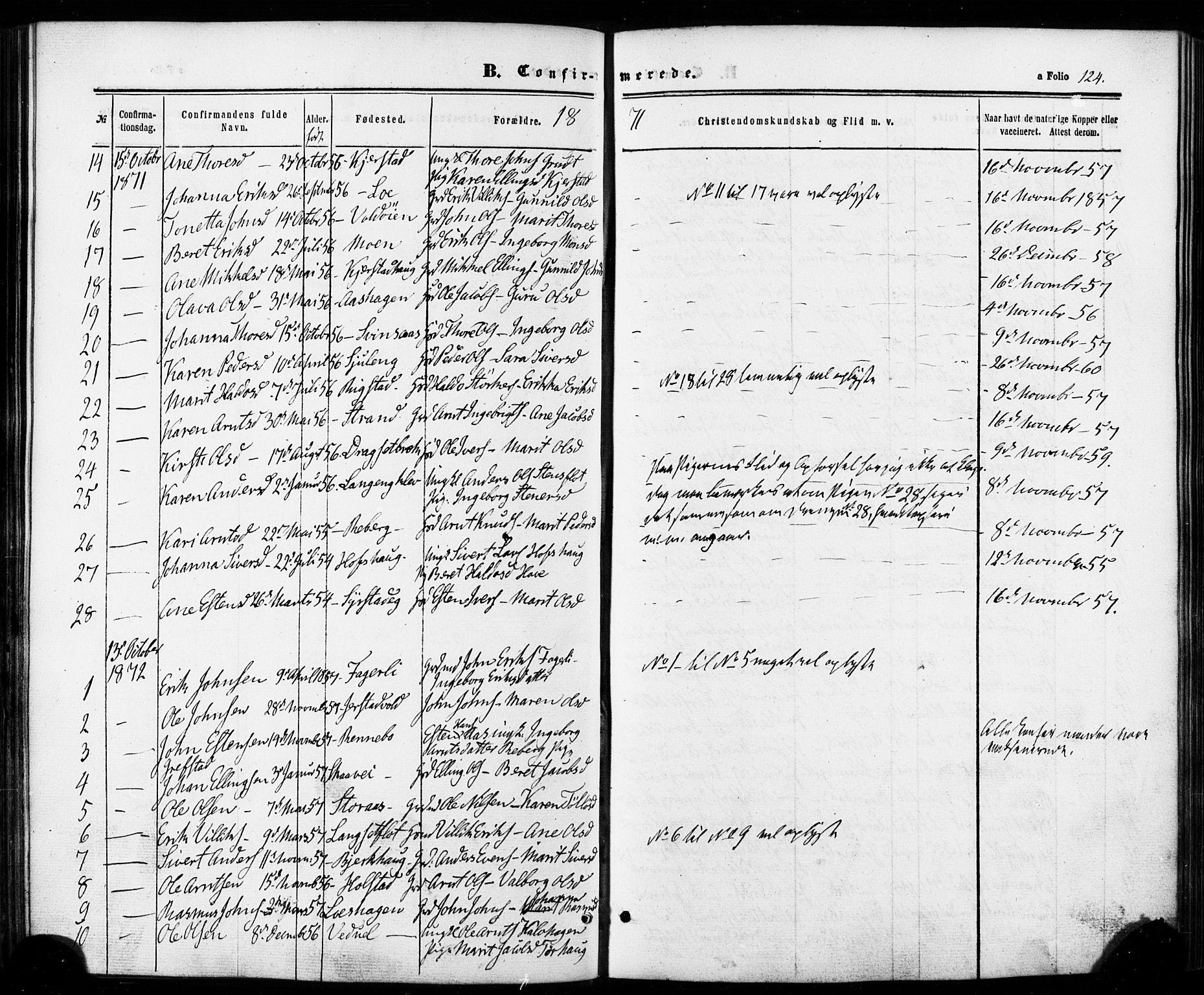 SAT, Ministerialprotokoller, klokkerbøker og fødselsregistre - Sør-Trøndelag, 672/L0856: Ministerialbok nr. 672A08, 1861-1881, s. 124