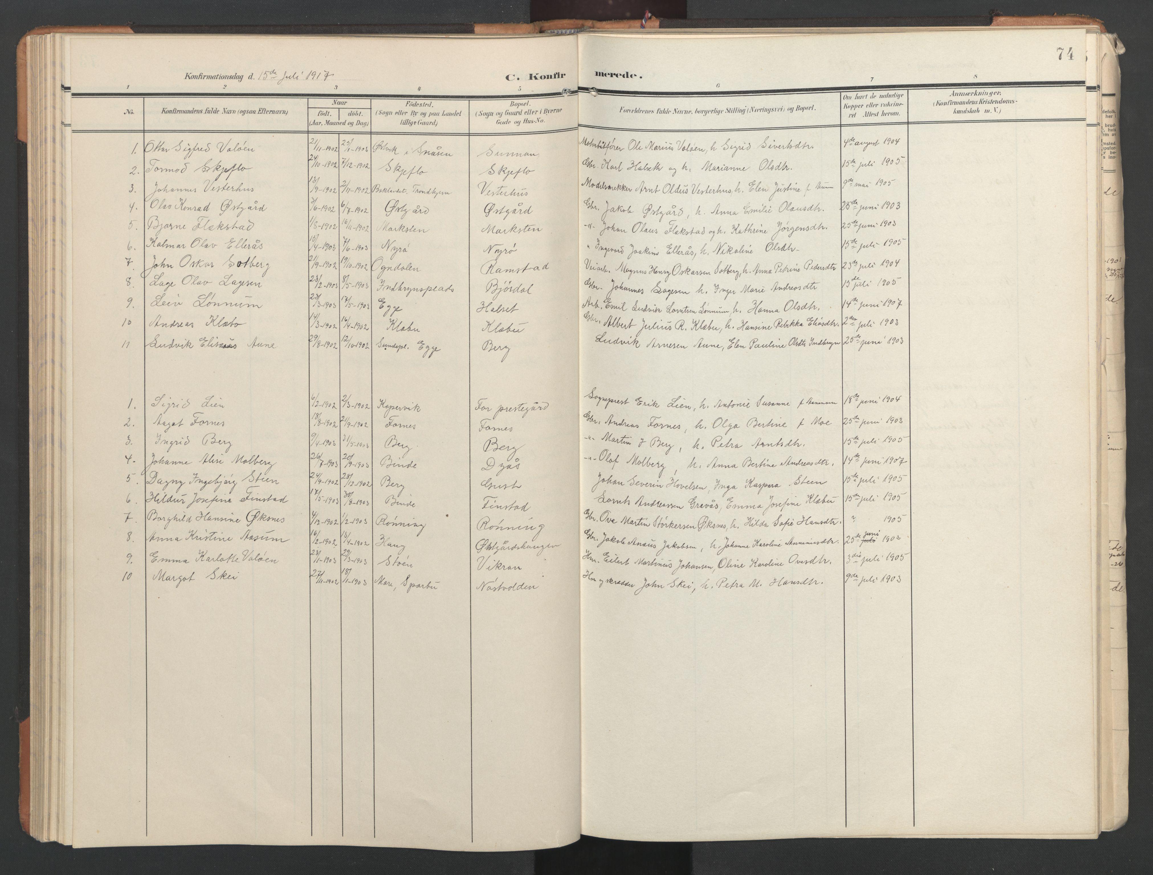 SAT, Ministerialprotokoller, klokkerbøker og fødselsregistre - Nord-Trøndelag, 746/L0455: Klokkerbok nr. 746C01, 1908-1933, s. 74