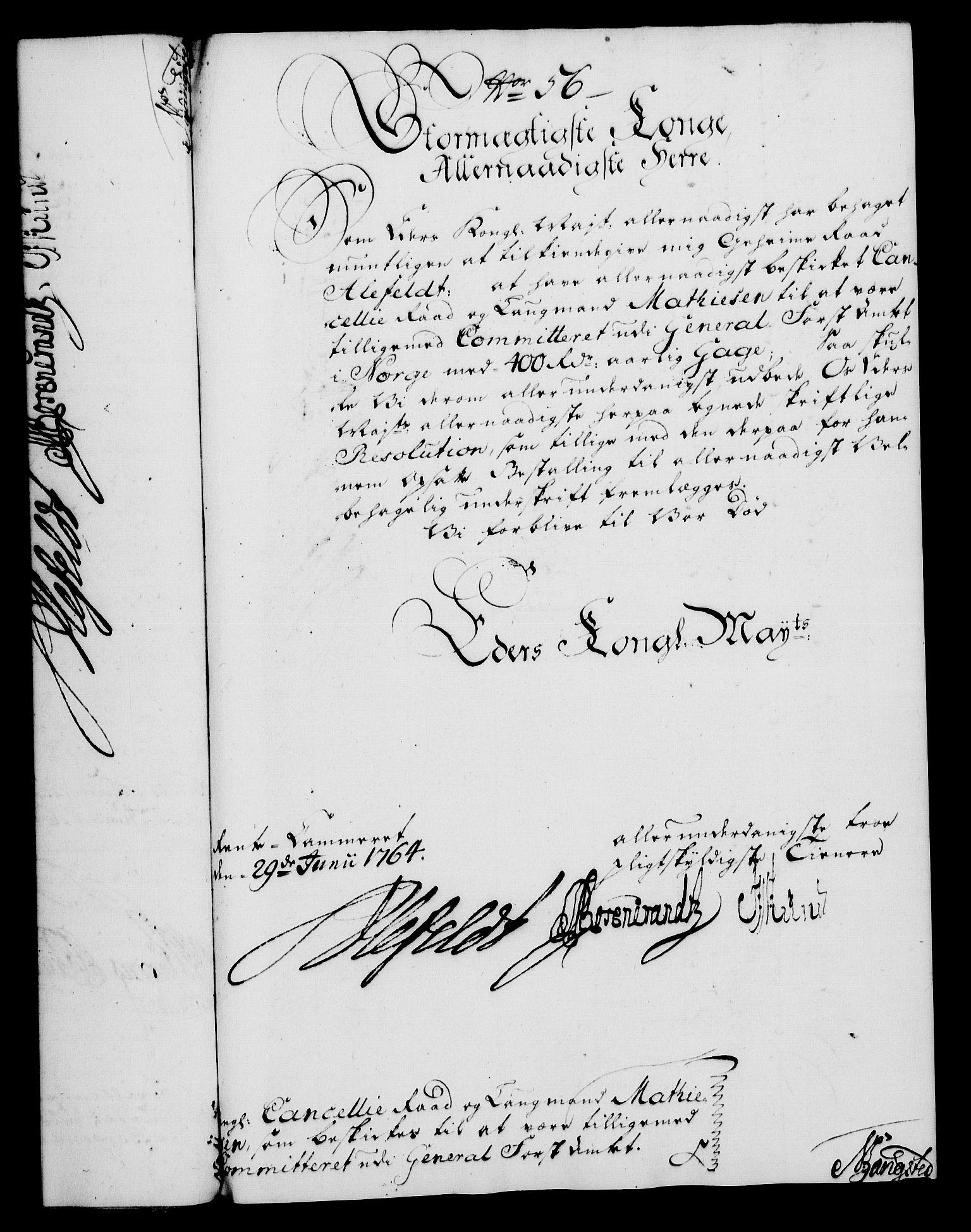 RA, Rentekammeret, Kammerkanselliet, G/Gf/Gfa/L0046: Norsk relasjons- og resolusjonsprotokoll (merket RK 52.46), 1764, s. 249
