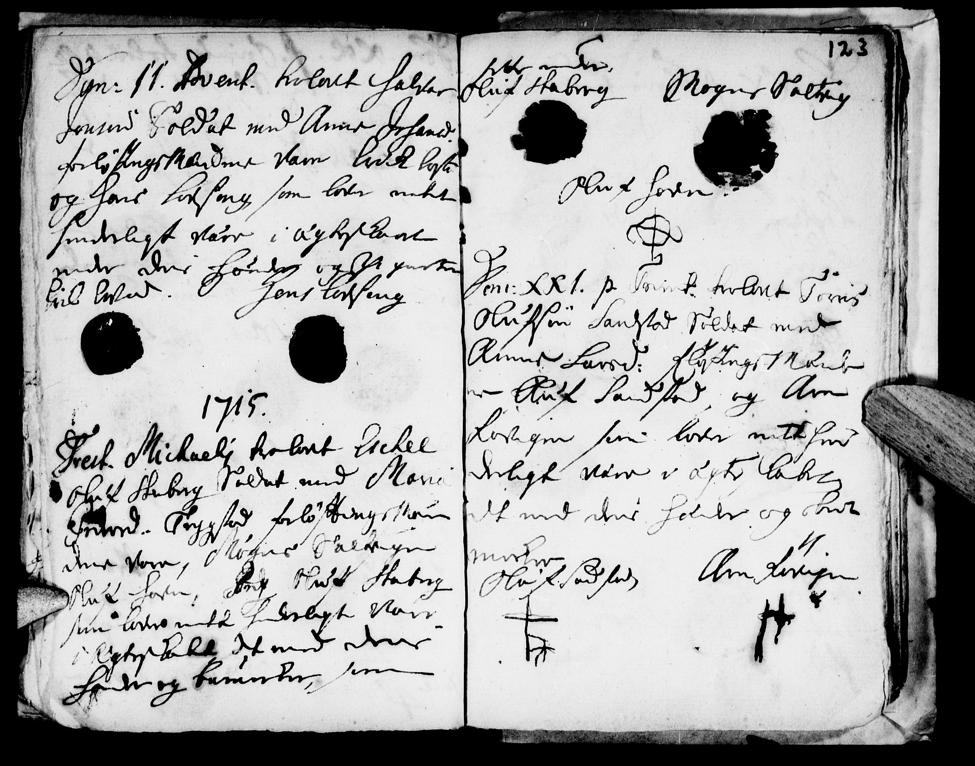 SAT, Ministerialprotokoller, klokkerbøker og fødselsregistre - Nord-Trøndelag, 722/L0214: Ministerialbok nr. 722A01, 1692-1718, s. 123