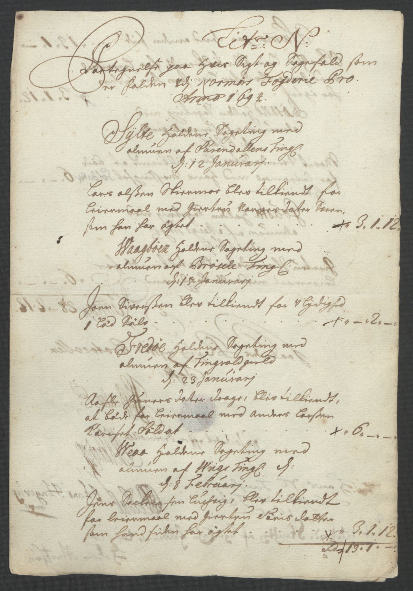 RA, Rentekammeret inntil 1814, Reviderte regnskaper, Fogderegnskap, R56/L3736: Fogderegnskap Nordmøre, 1694-1696, s. 108