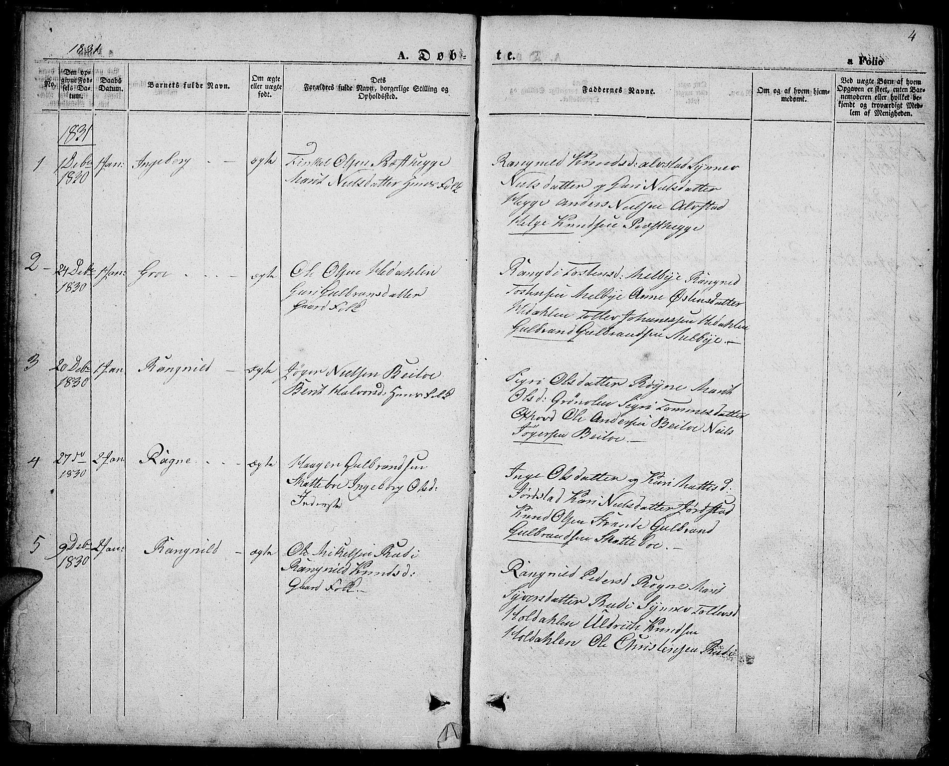 SAH, Slidre prestekontor, Ministerialbok nr. 4, 1831-1848, s. 4