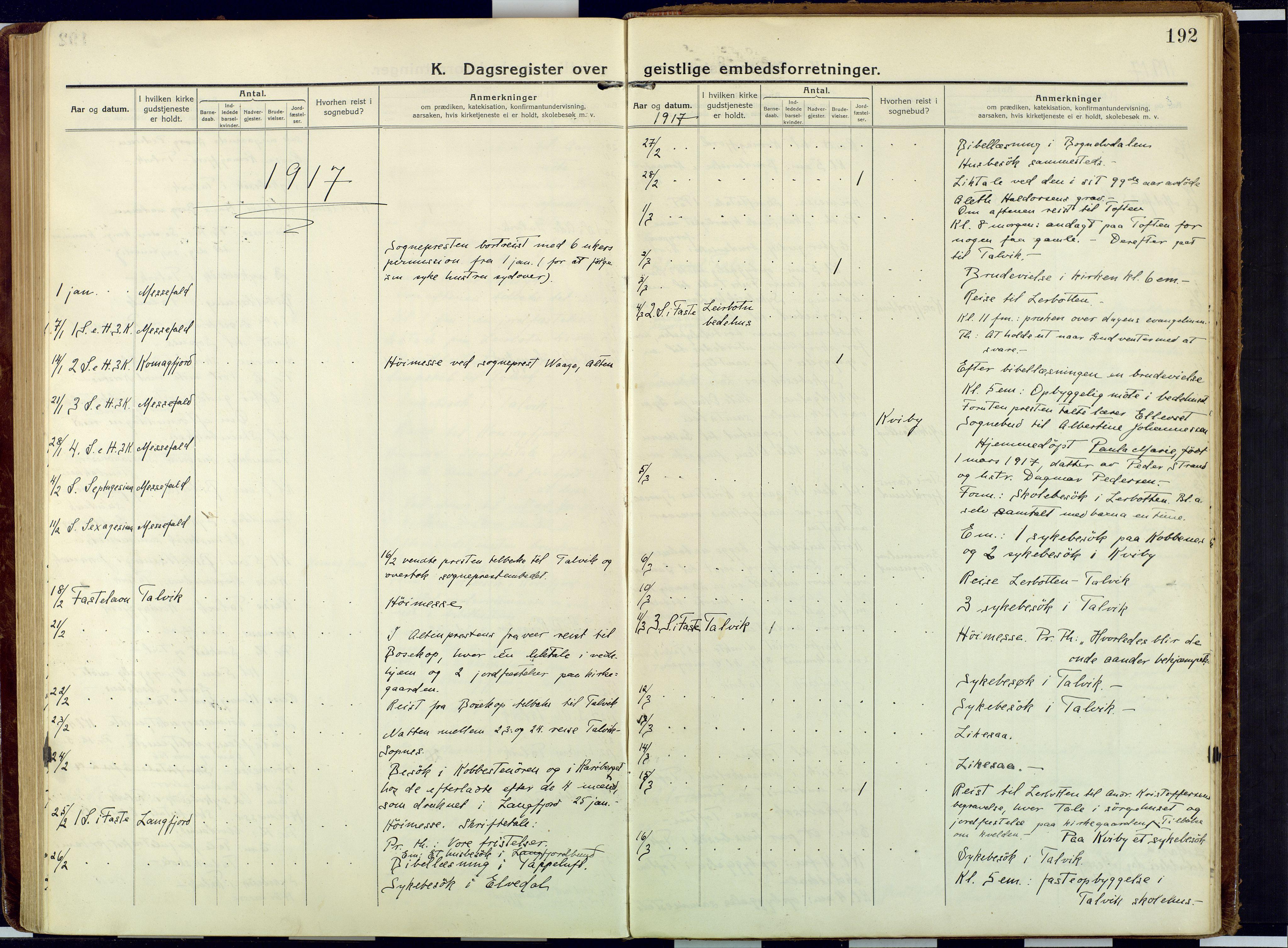 SATØ, Talvik sokneprestkontor, H/Ha/L0018kirke: Ministerialbok nr. 18, 1915-1924, s. 192