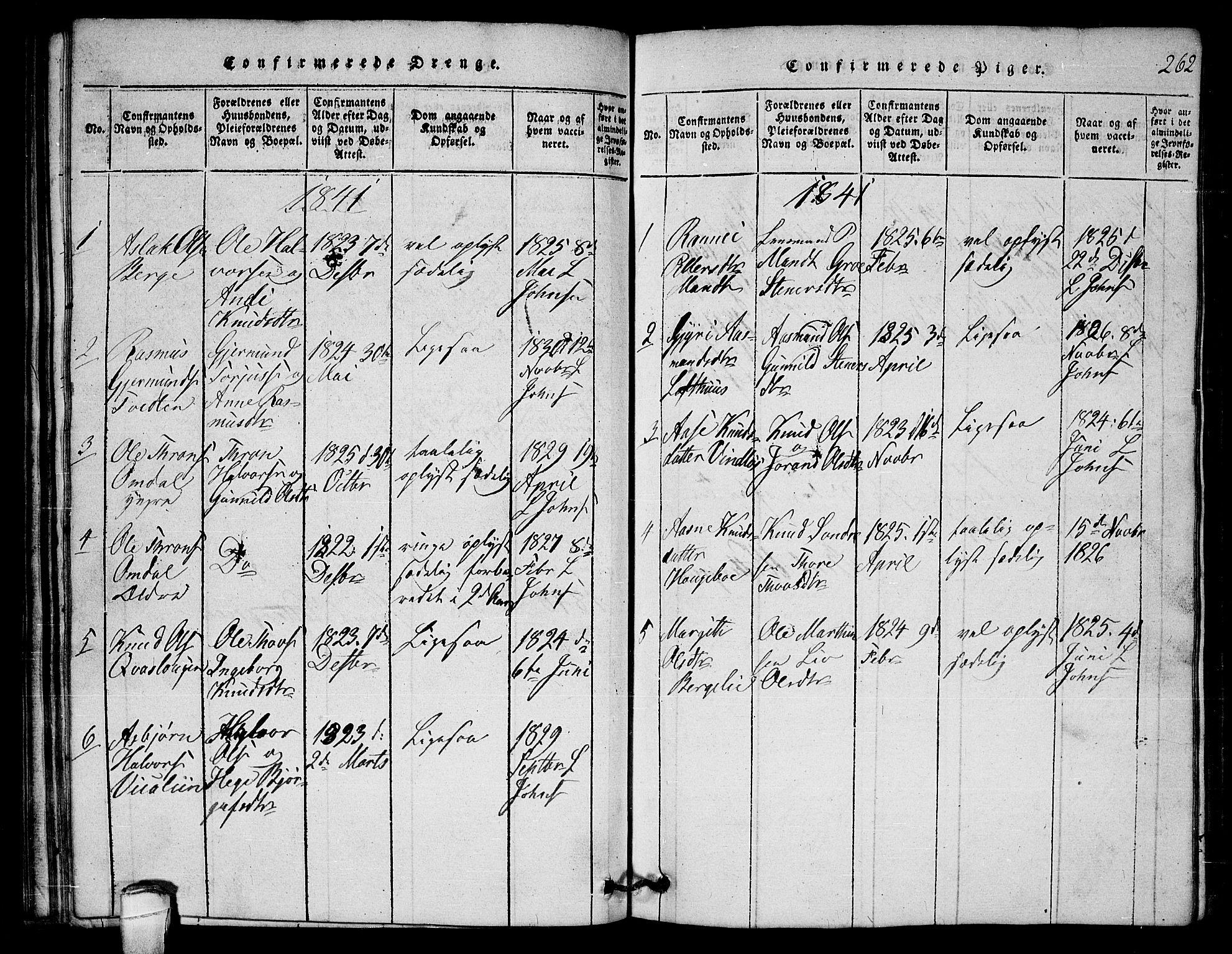 SAKO, Lårdal kirkebøker, G/Gb/L0001: Klokkerbok nr. II 1, 1815-1865, s. 262