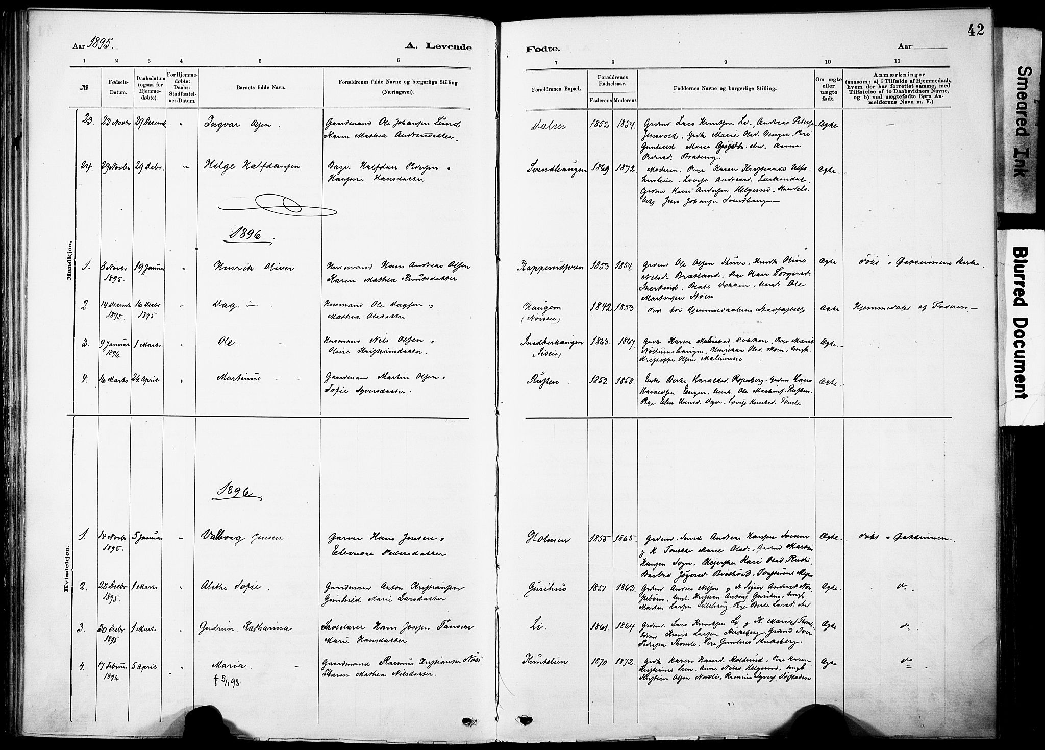 SAH, Nordre Land prestekontor, Ministerialbok nr. 5, 1882-1903, s. 42