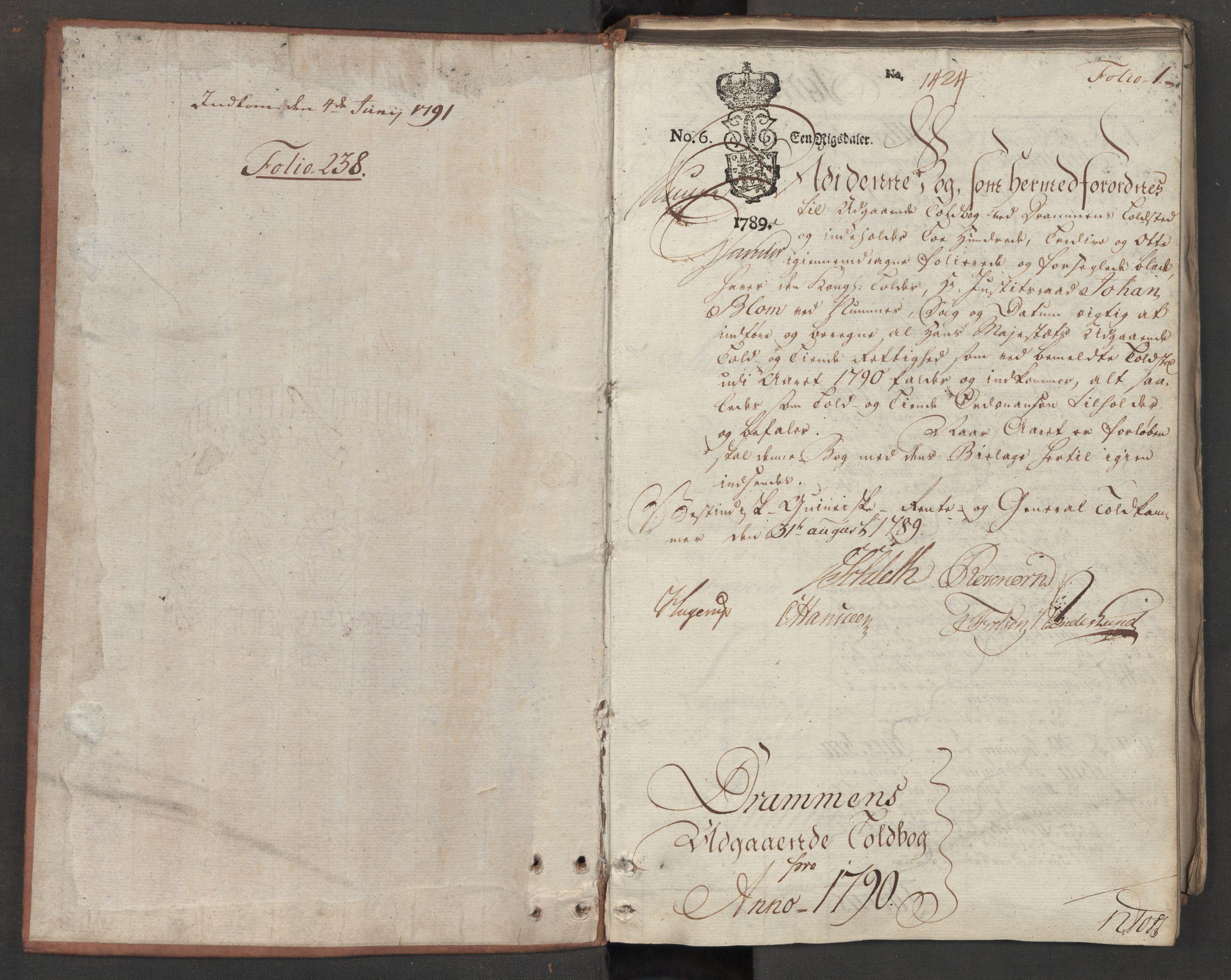 RA, Generaltollkammeret, tollregnskaper, R08/L0159: Tollregnskaper Drammen, 1790, s. 1a