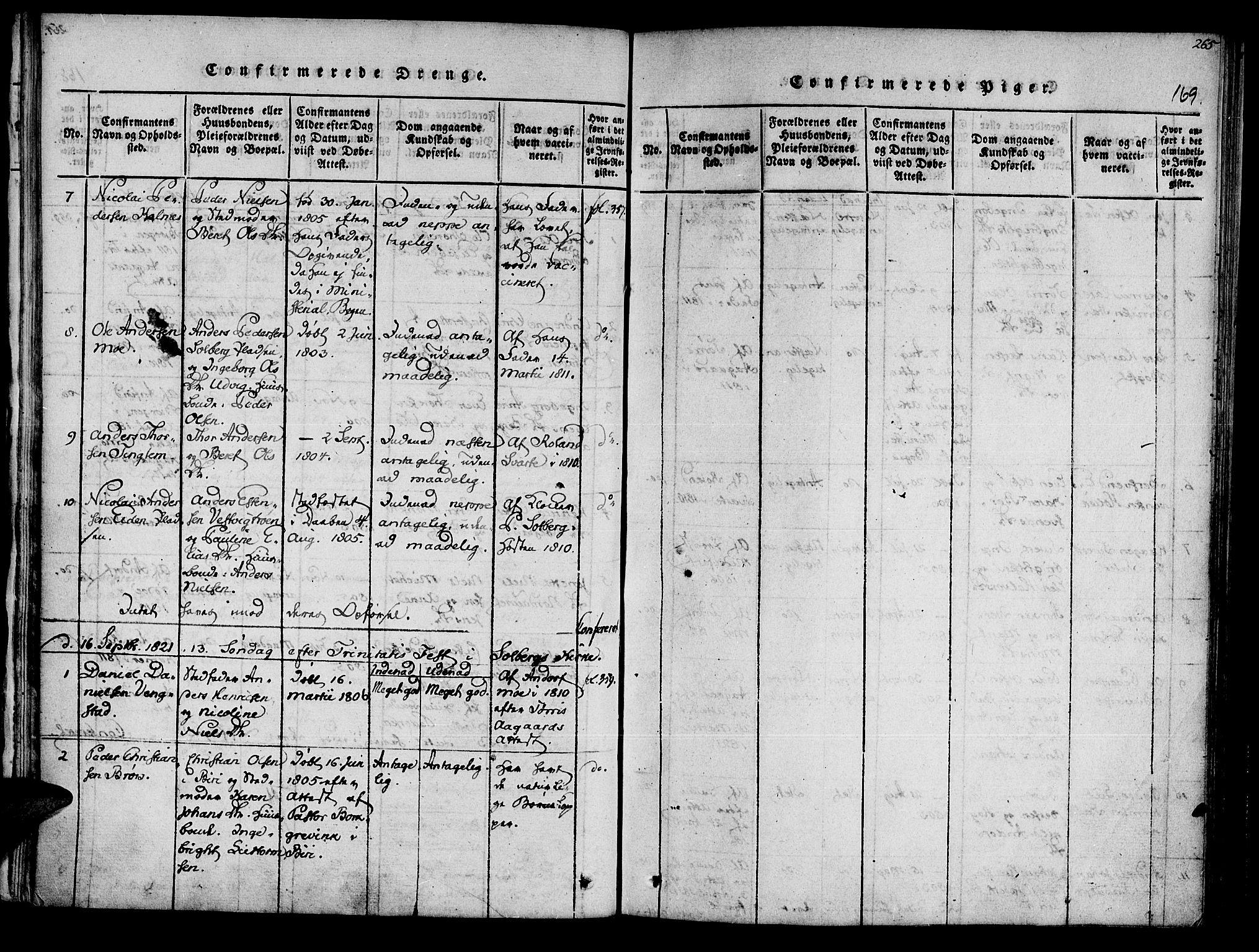 SAT, Ministerialprotokoller, klokkerbøker og fødselsregistre - Nord-Trøndelag, 741/L0387: Ministerialbok nr. 741A03 /3, 1817-1822, s. 169