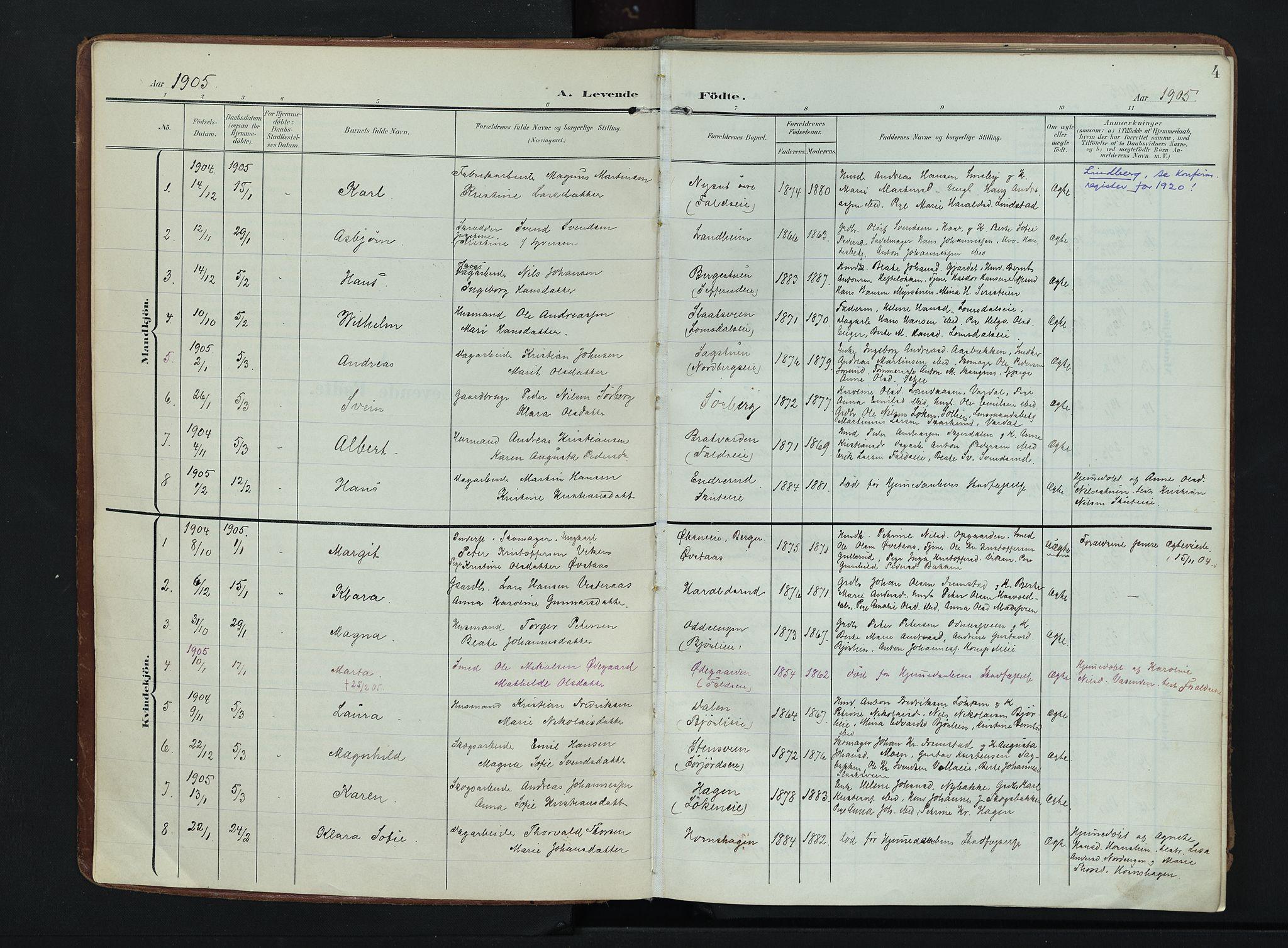 SAH, Søndre Land prestekontor, K/L0007: Ministerialbok nr. 7, 1905-1914, s. 4