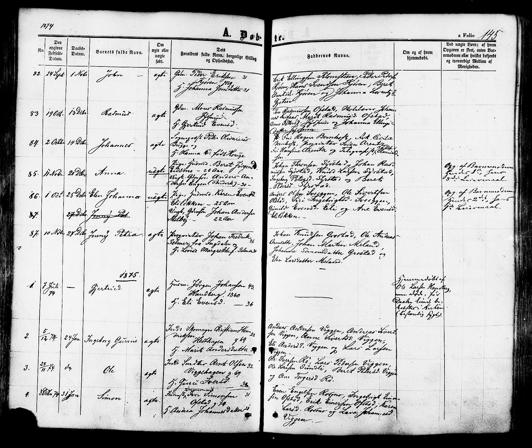 SAT, Ministerialprotokoller, klokkerbøker og fødselsregistre - Sør-Trøndelag, 665/L0772: Ministerialbok nr. 665A07, 1856-1878, s. 145