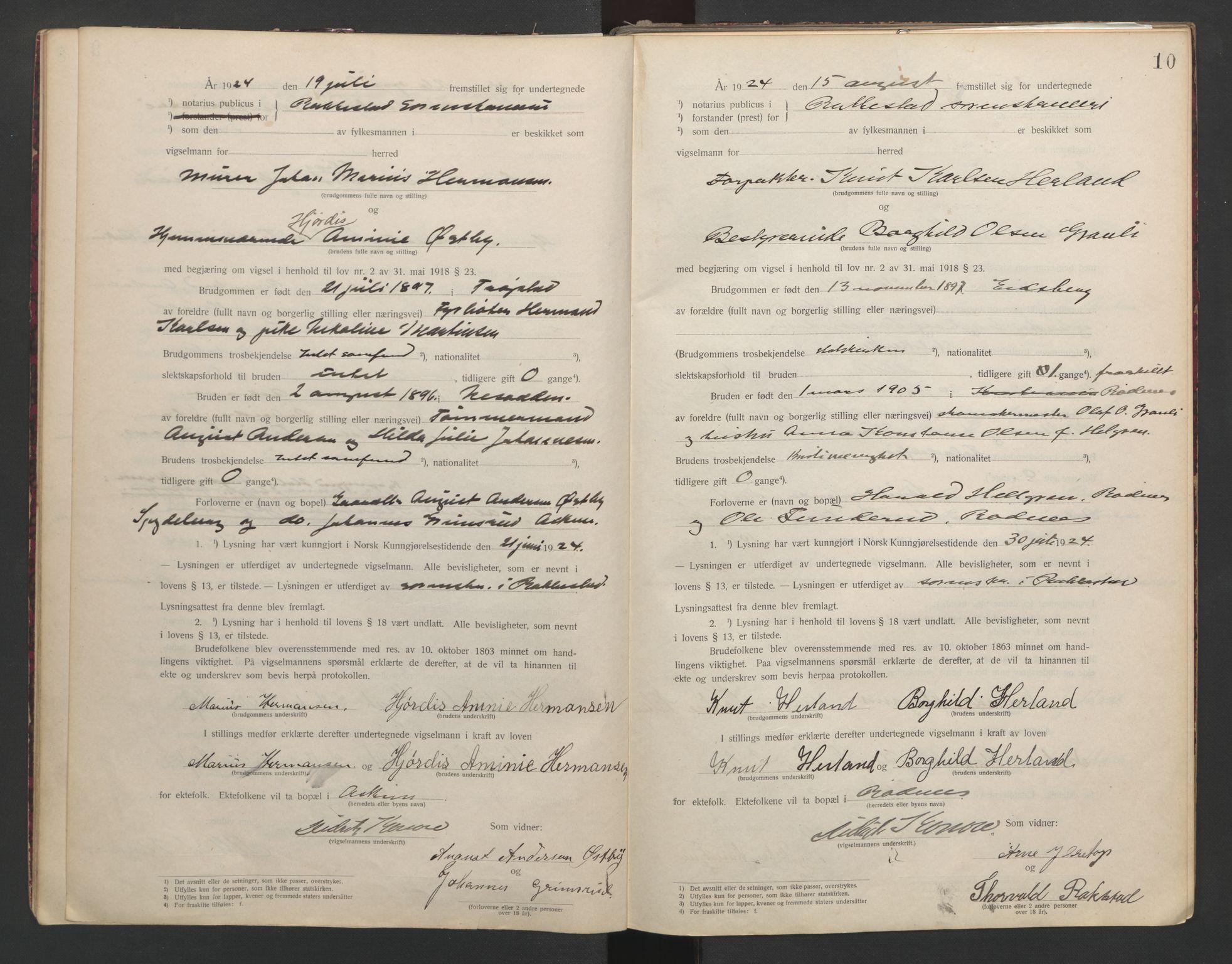 SAO, Rakkestad sorenskriveri, L/Lc/Lca/L0001: Vigselbøker, 1920-1942, s. 10