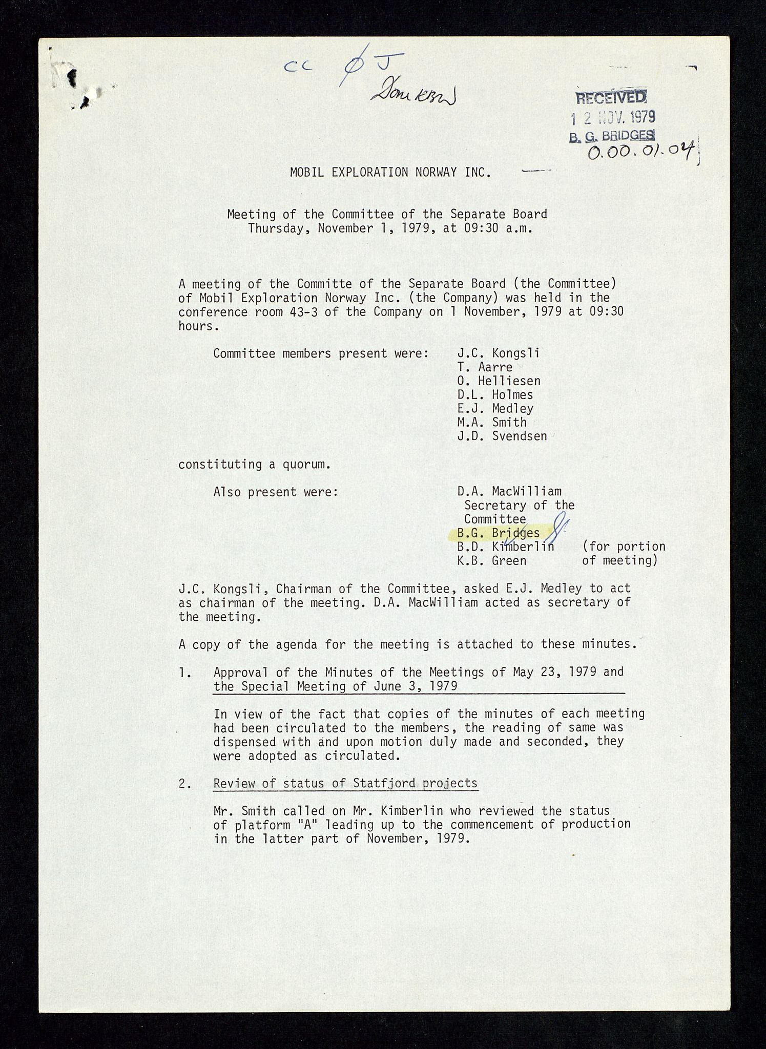 SAST, Pa 1578 - Mobil Exploration Norway Incorporated, D/Da/L0168: Sak og korrespondanse og styremøter, 1973-1986, s. 16