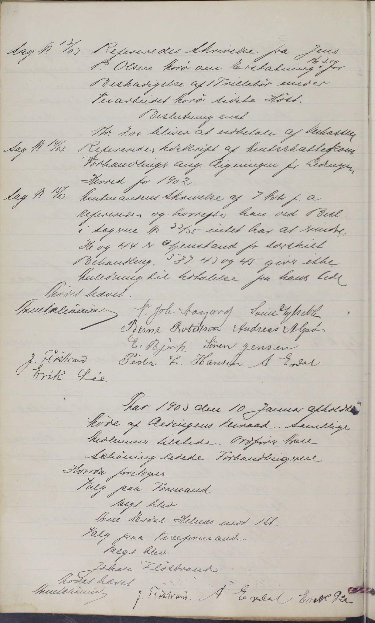 AIN, Leiranger kommune. Formannskapet, 100/L0001: Møtebok, 1900-1913, s. 44b