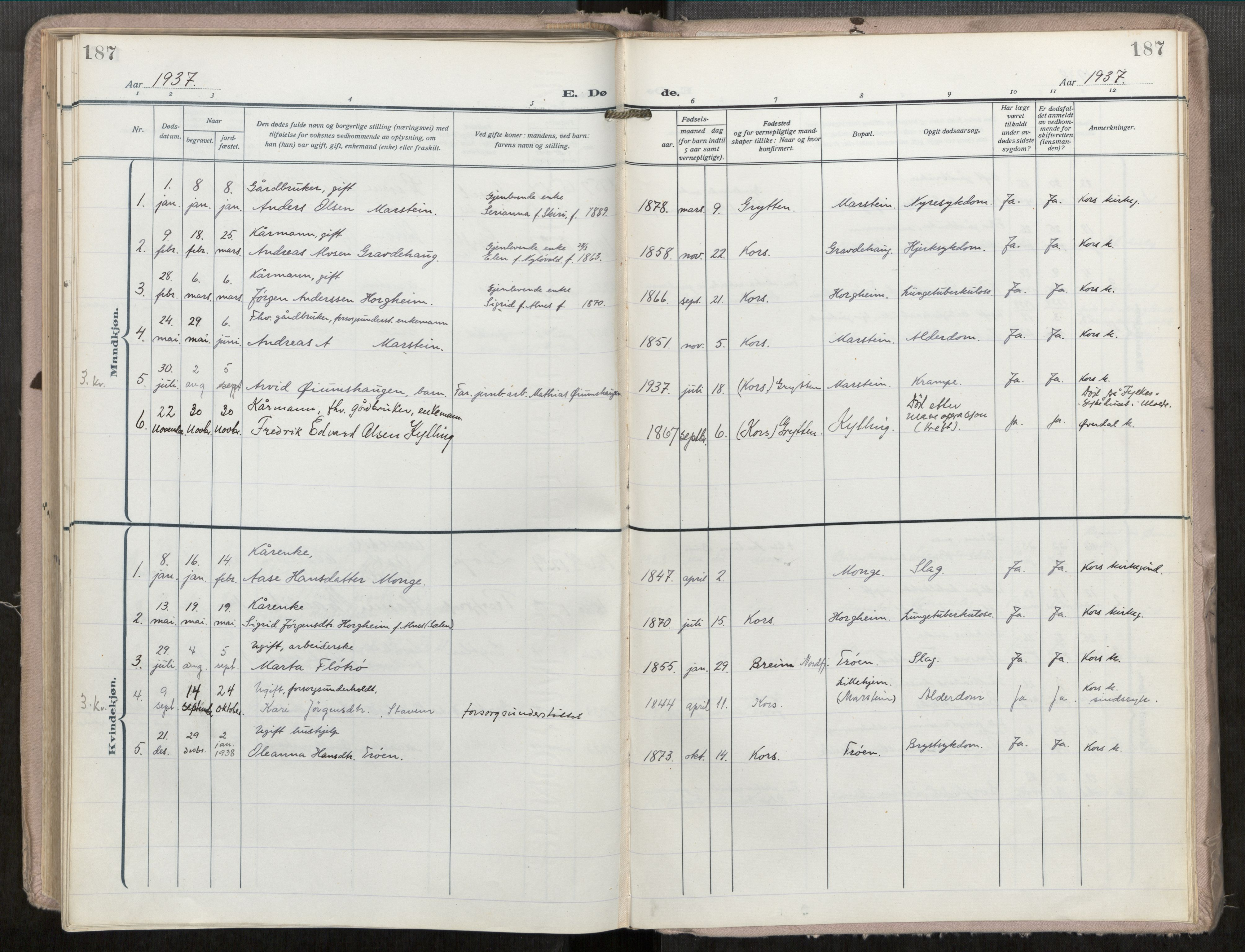 SAT, Grytten sokneprestkontor, Ministerialbok nr. 546A04, 1919-1956, s. 187