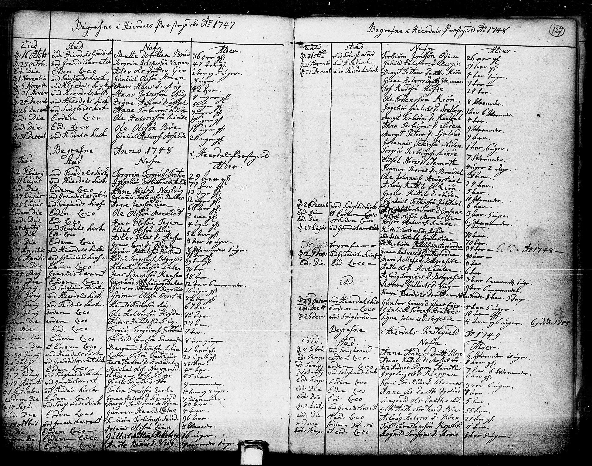 SAKO, Hjartdal kirkebøker, F/Fa/L0003: Ministerialbok nr. I 3, 1727-1775, s. 127