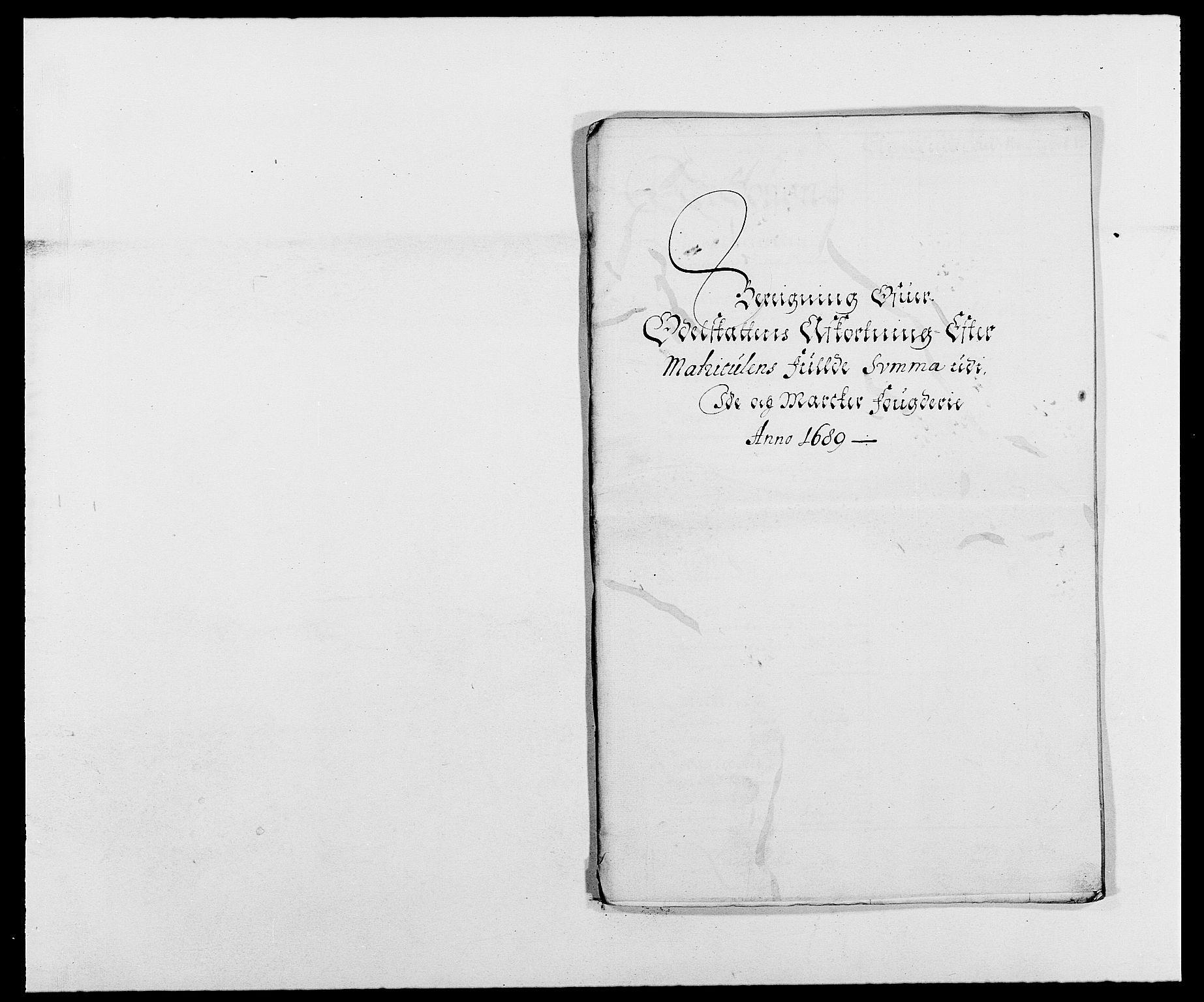 RA, Rentekammeret inntil 1814, Reviderte regnskaper, Fogderegnskap, R01/L0008: Fogderegnskap Idd og Marker, 1689, s. 280