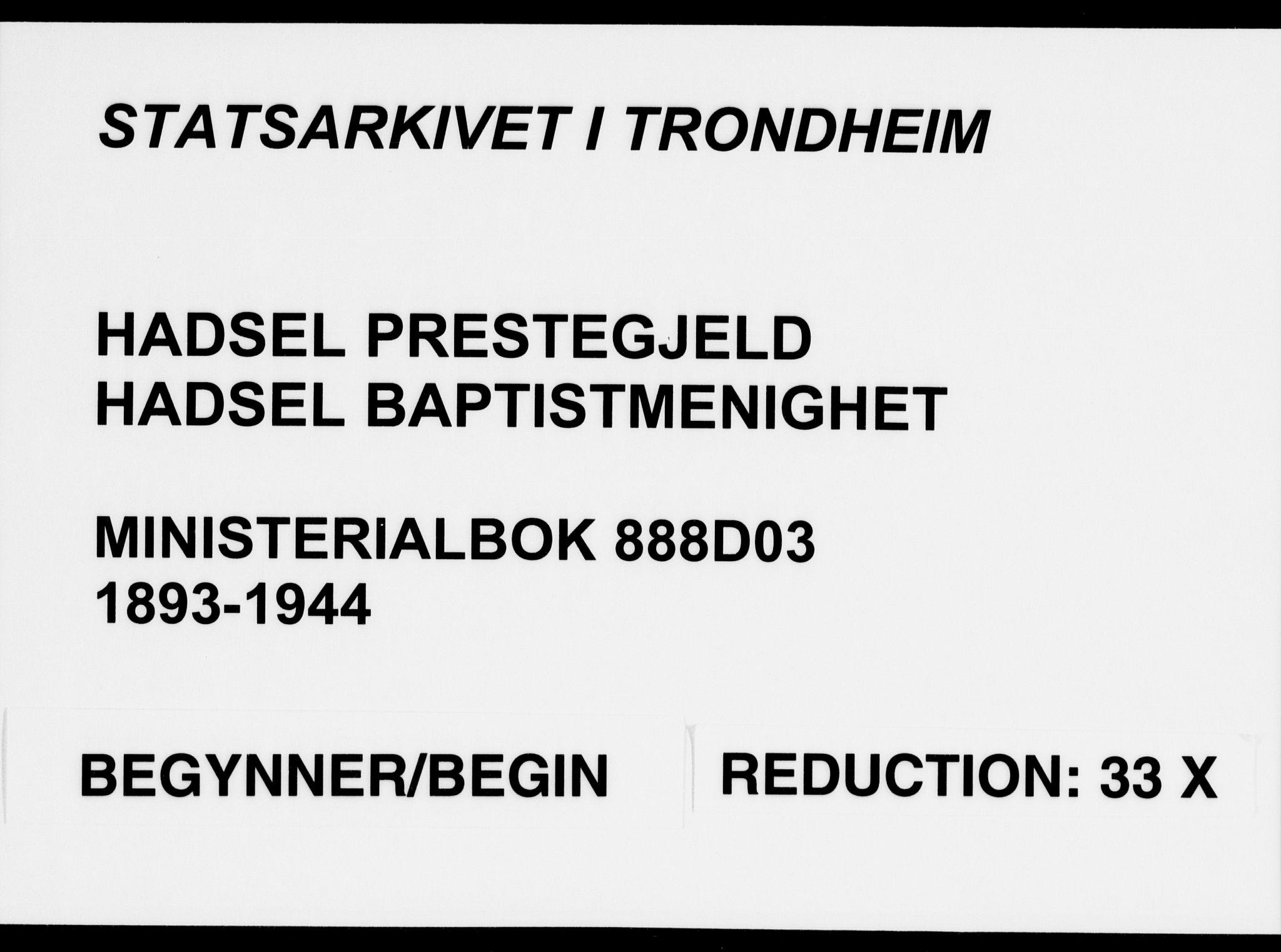 SAT, Ministerialprotokoller, klokkerbøker og fødselsregistre - Nordland, 888/L1276: Dissenterprotokoll nr. 888D03, 1893-1944