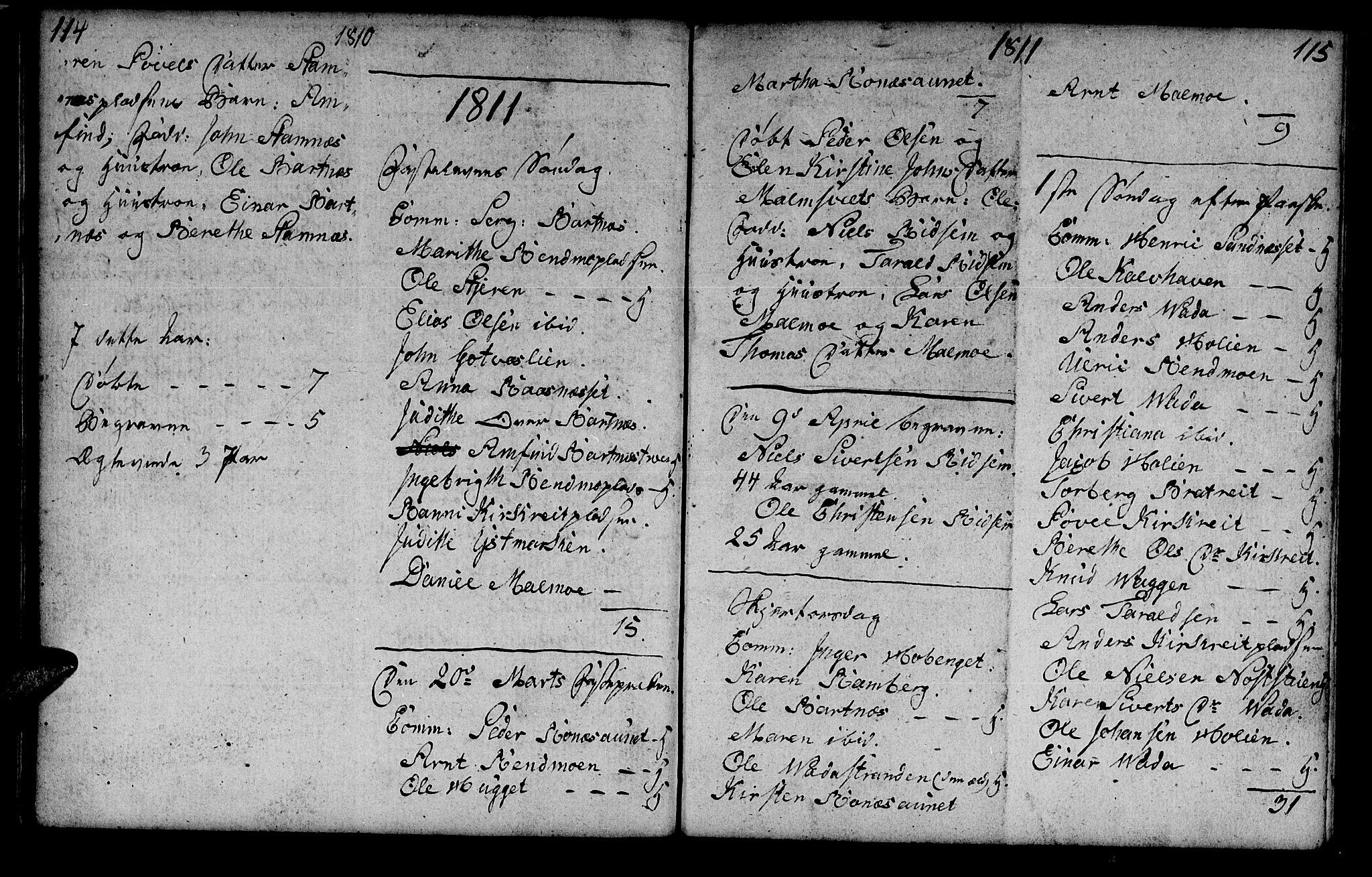 SAT, Ministerialprotokoller, klokkerbøker og fødselsregistre - Nord-Trøndelag, 745/L0432: Klokkerbok nr. 745C01, 1802-1814, s. 114-115