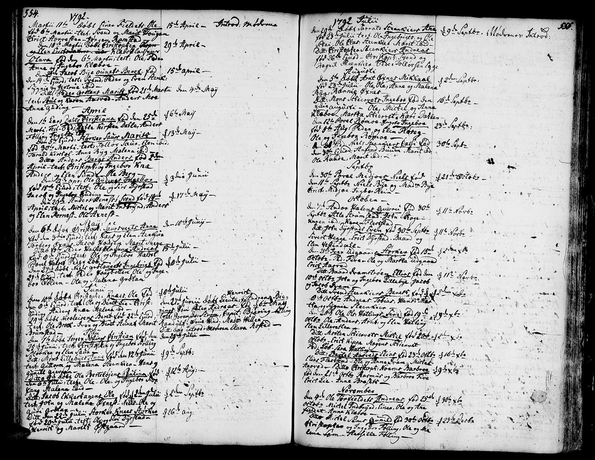 SAT, Ministerialprotokoller, klokkerbøker og fødselsregistre - Nord-Trøndelag, 746/L0440: Ministerialbok nr. 746A02, 1760-1815, s. 554-555