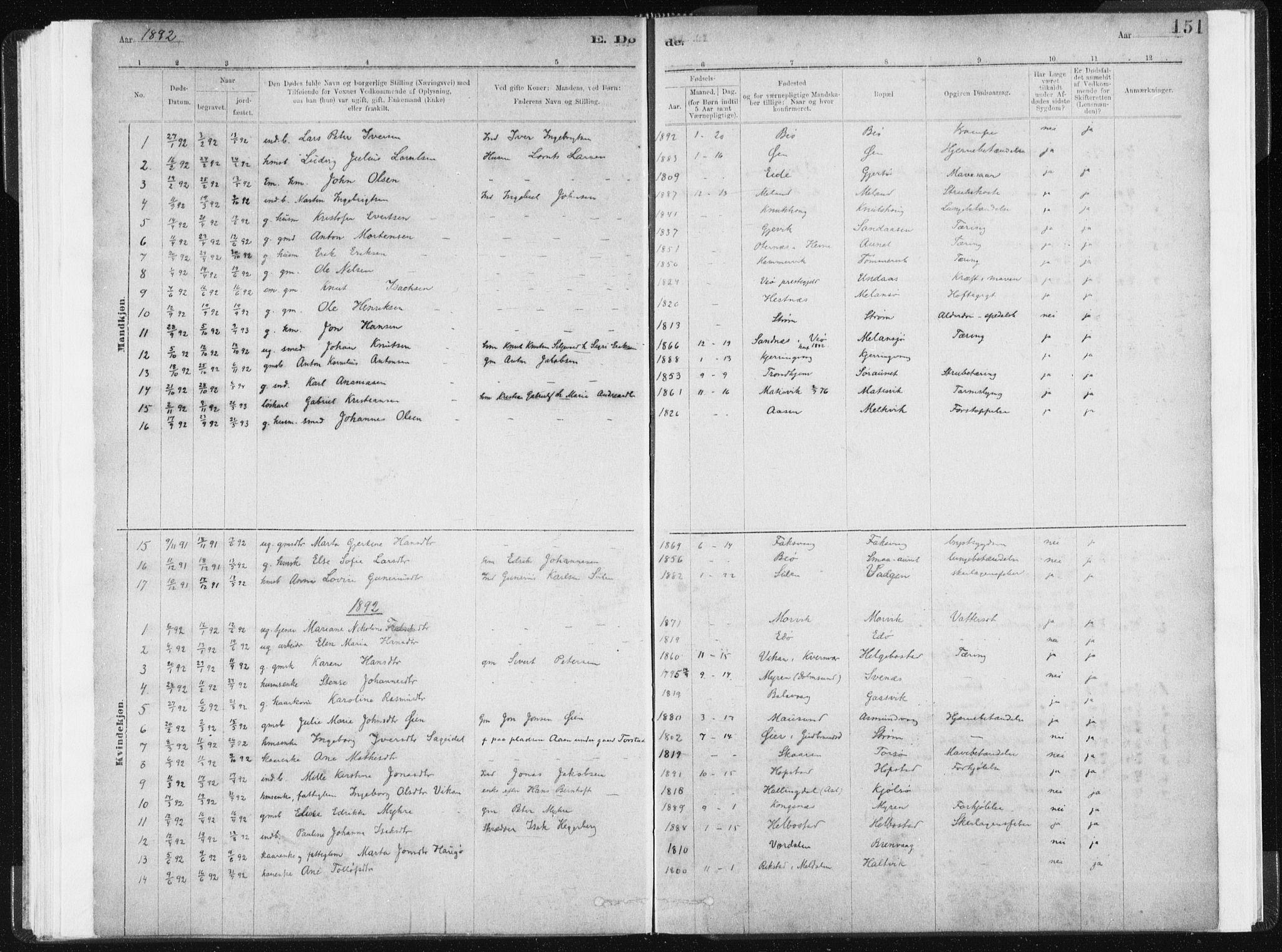 SAT, Ministerialprotokoller, klokkerbøker og fødselsregistre - Sør-Trøndelag, 634/L0533: Ministerialbok nr. 634A09, 1882-1901, s. 151