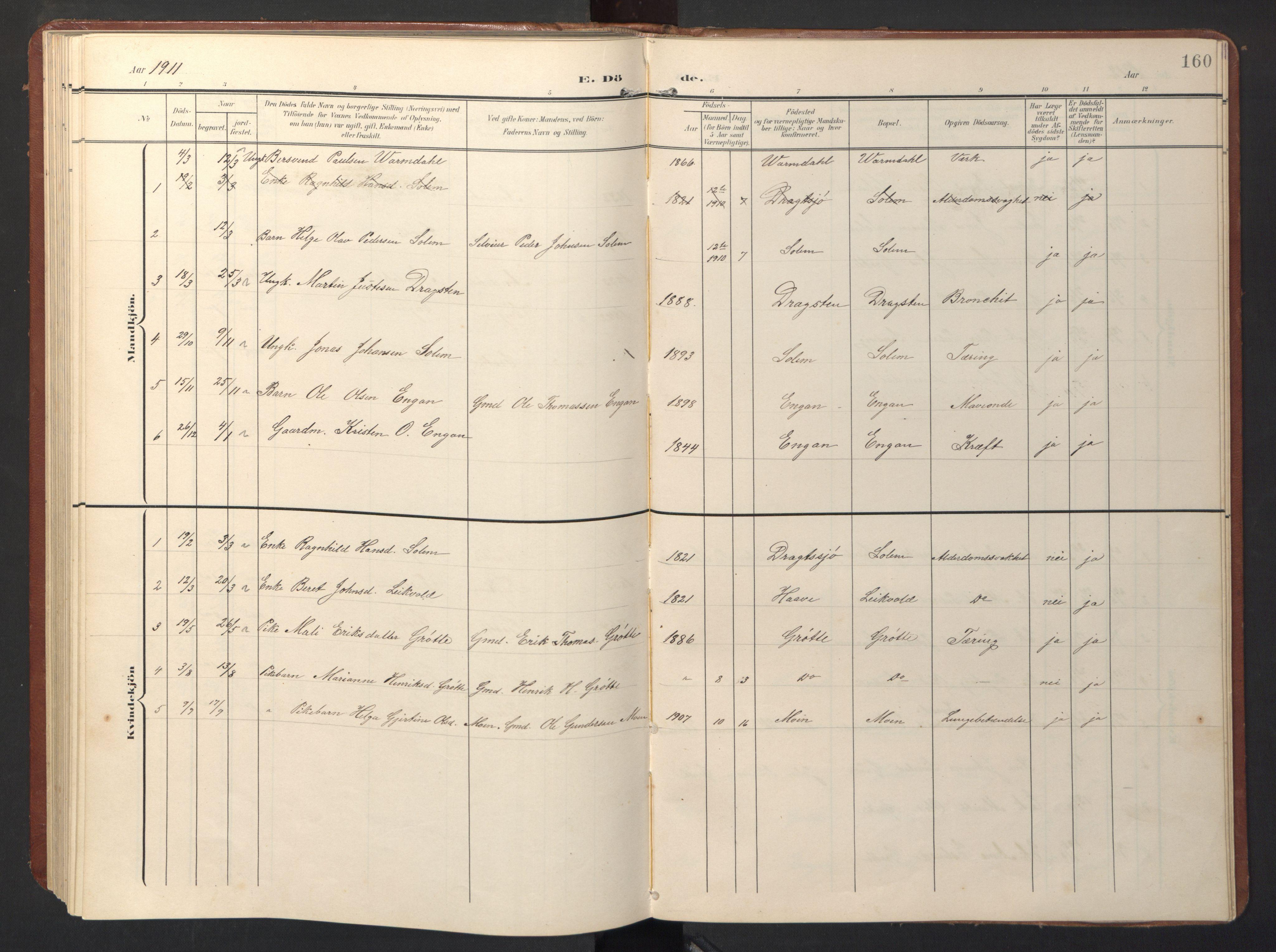 SAT, Ministerialprotokoller, klokkerbøker og fødselsregistre - Sør-Trøndelag, 696/L1161: Klokkerbok nr. 696C01, 1902-1950, s. 160