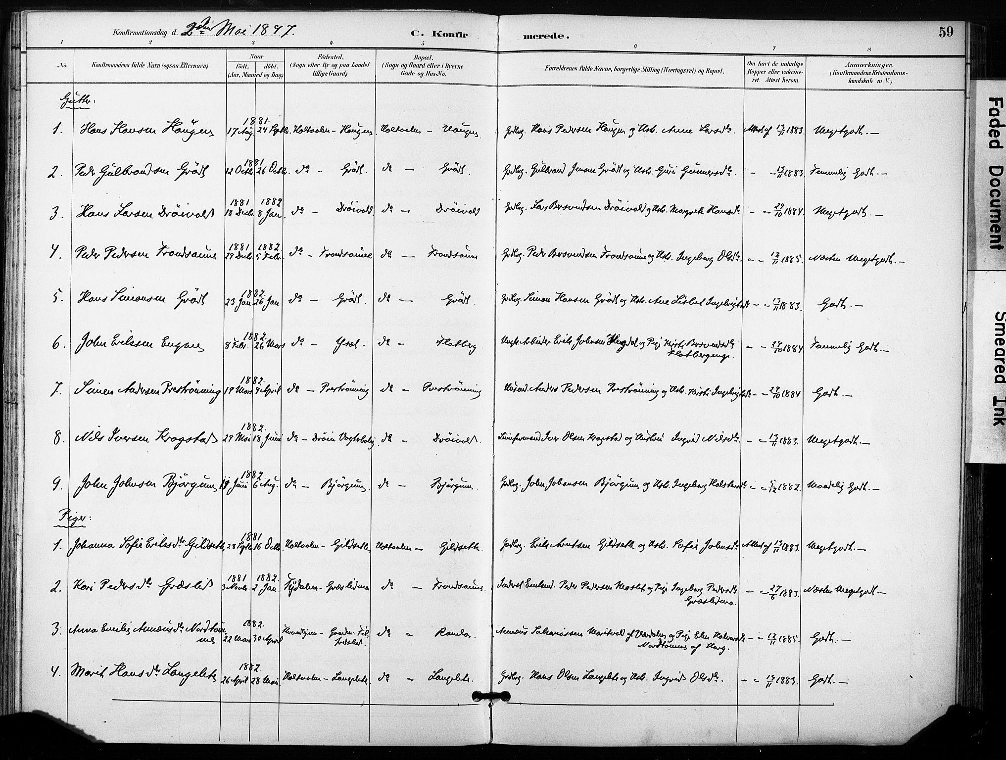 SAT, Ministerialprotokoller, klokkerbøker og fødselsregistre - Sør-Trøndelag, 685/L0973: Ministerialbok nr. 685A10, 1891-1907, s. 59