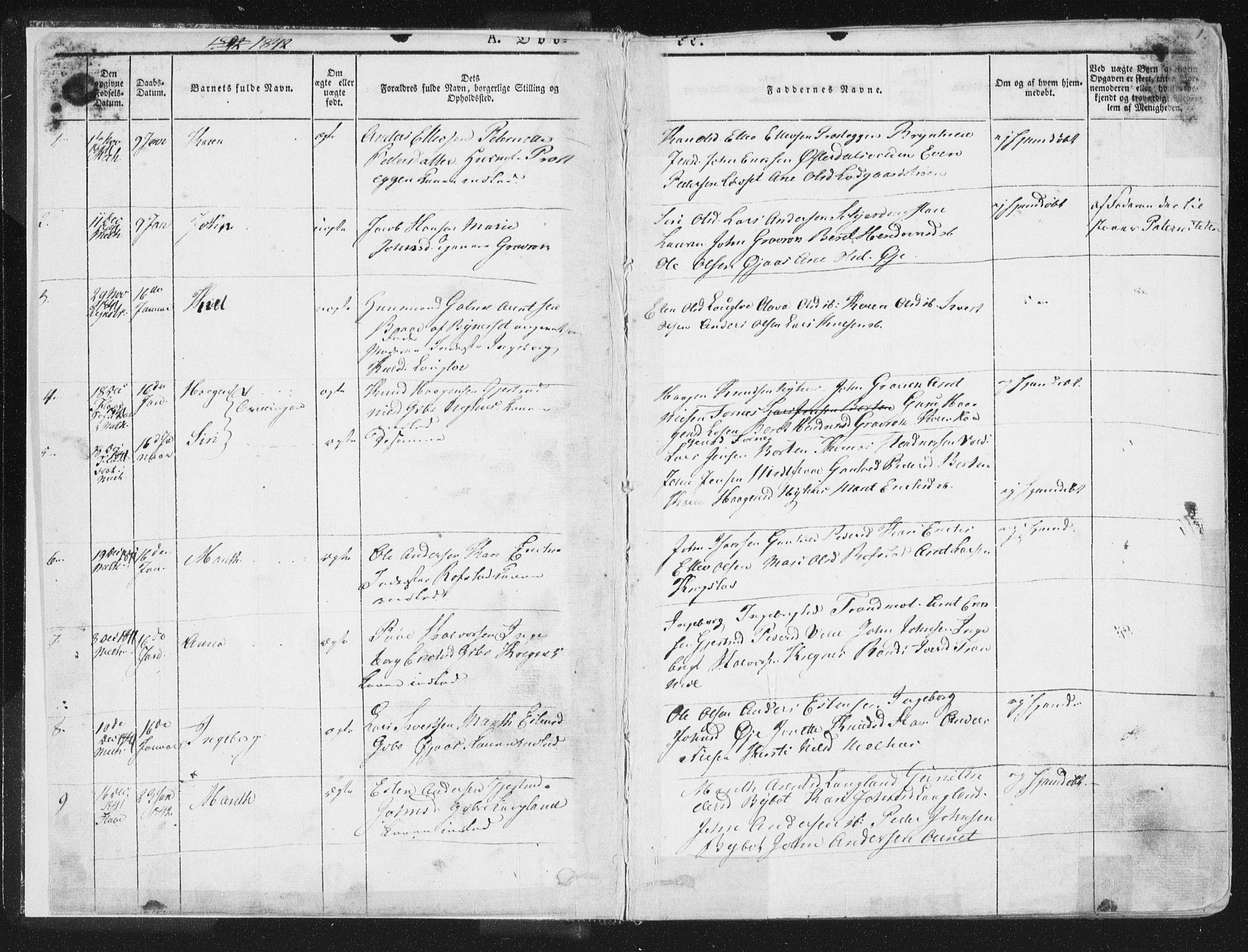 SAT, Ministerialprotokoller, klokkerbøker og fødselsregistre - Sør-Trøndelag, 691/L1074: Ministerialbok nr. 691A06, 1842-1852, s. 1