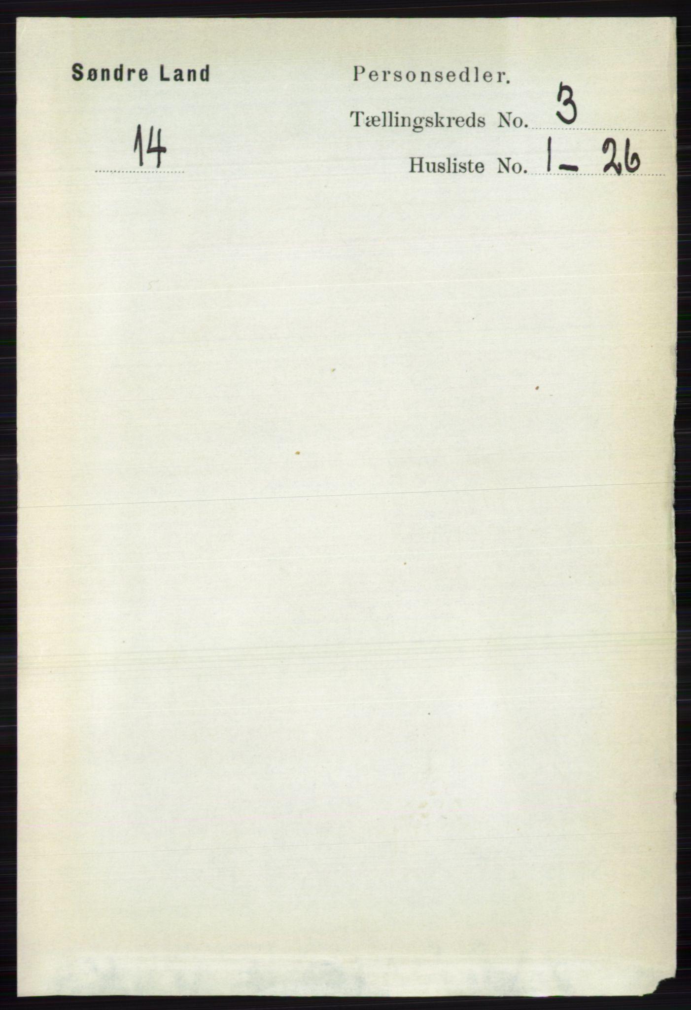 RA, Folketelling 1891 for 0536 Søndre Land herred, 1891, s. 2498