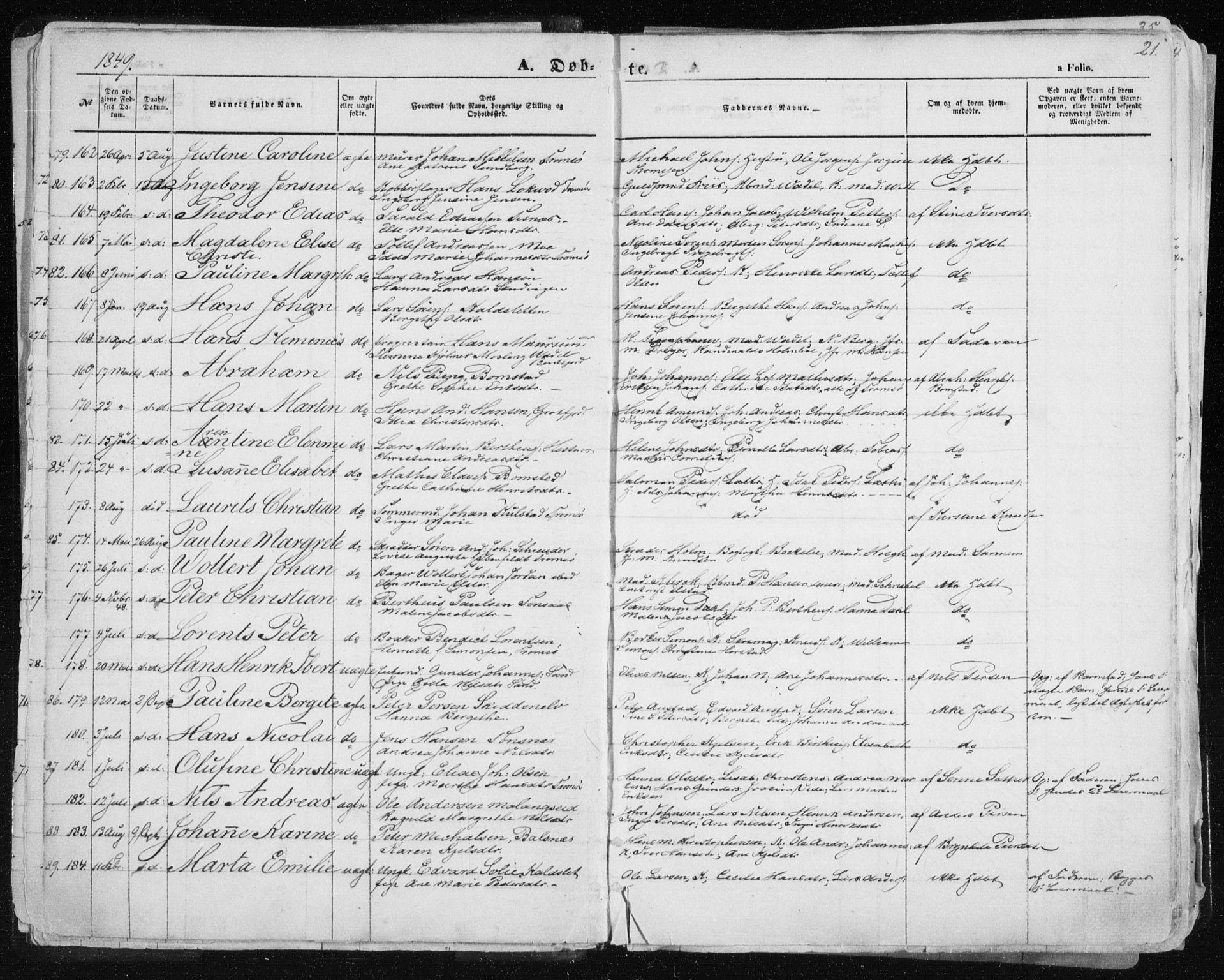 SATØ, Tromsø sokneprestkontor/stiftsprosti/domprosti, G/Ga/L0010kirke: Ministerialbok nr. 10, 1848-1855, s. 21