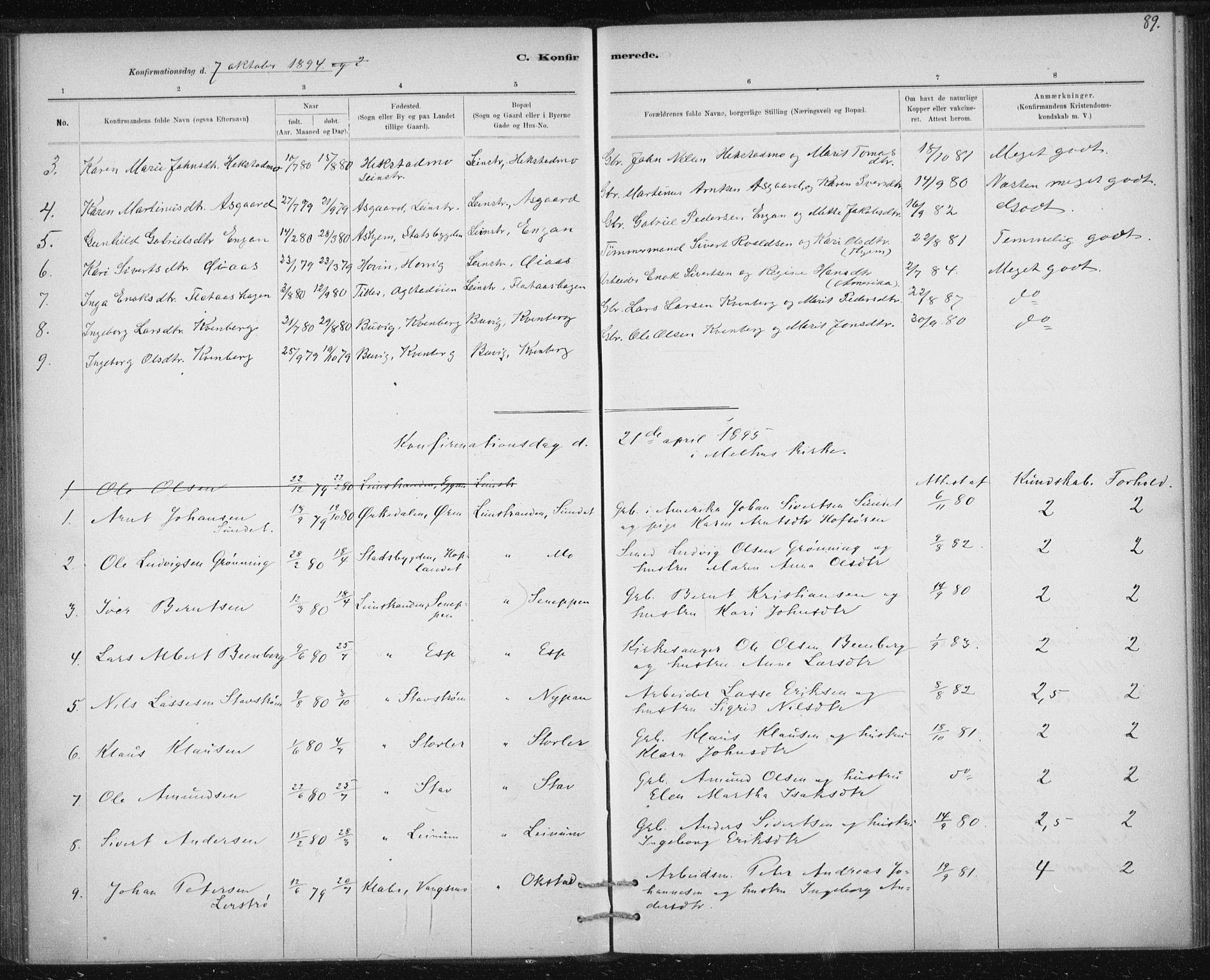 SAT, Ministerialprotokoller, klokkerbøker og fødselsregistre - Sør-Trøndelag, 613/L0392: Ministerialbok nr. 613A01, 1887-1906, s. 89