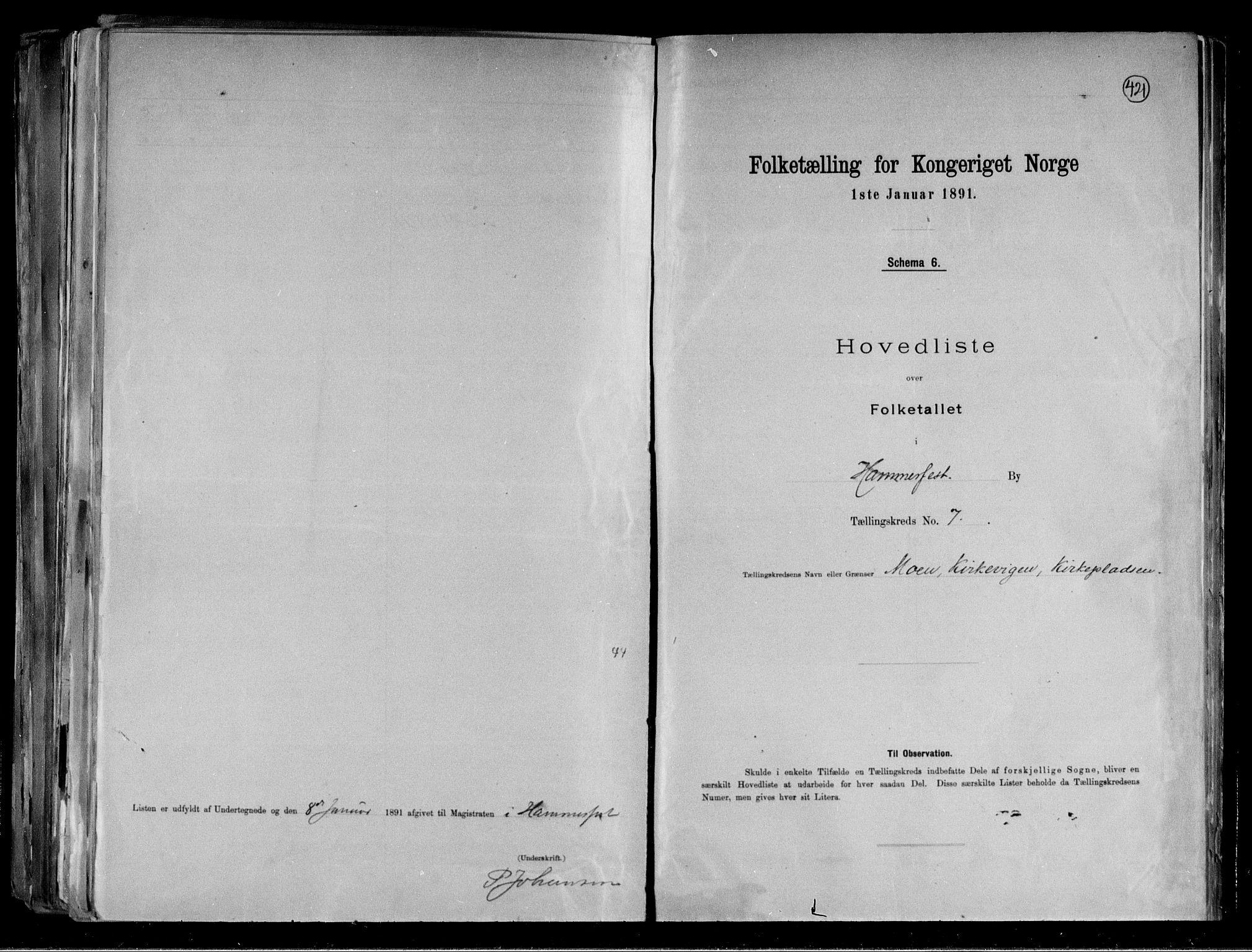 RA, Folketelling 1891 for 2001 Hammerfest kjøpstad, 1891, s. 17