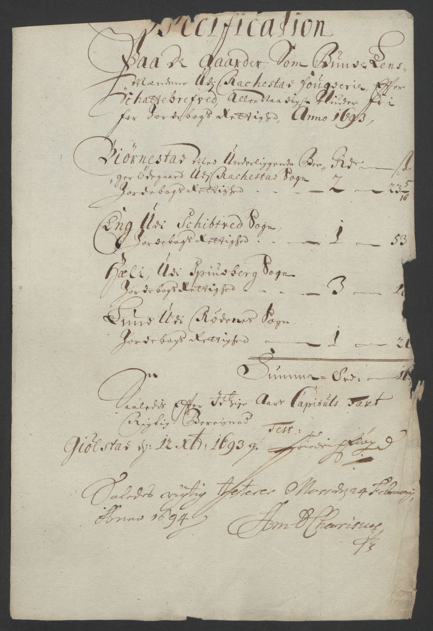 RA, Rentekammeret inntil 1814, Reviderte regnskaper, Fogderegnskap, R05/L0278: Fogderegnskap Rakkestad, 1691-1693, s. 528