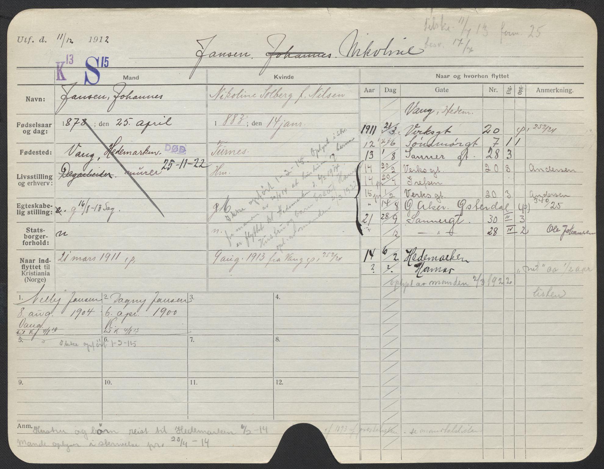 SAO, Oslo folkeregister, Registerkort, F/Fa/Fac/L0017: Kvinner, 1906-1914, s. 326a