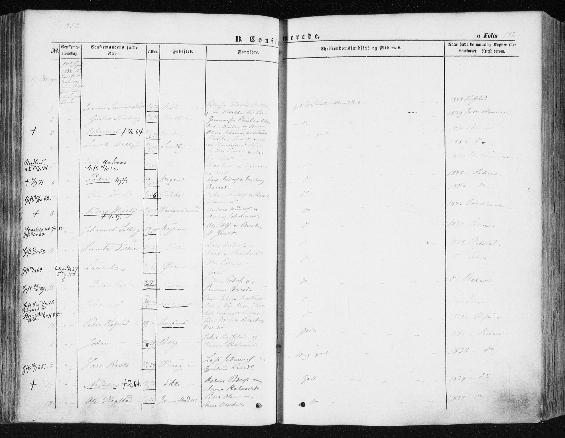 SAT, Ministerialprotokoller, klokkerbøker og fødselsregistre - Nord-Trøndelag, 723/L0240: Ministerialbok nr. 723A09, 1852-1860, s. 142