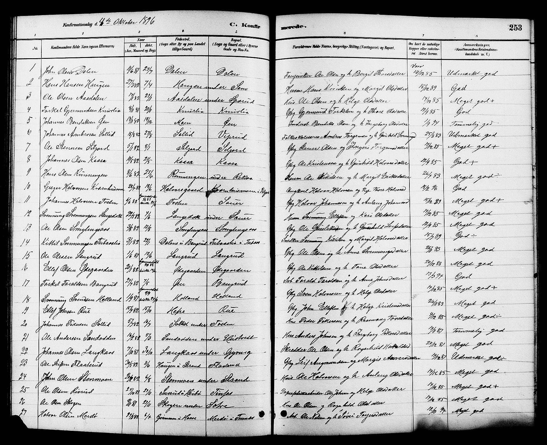 SAKO, Heddal kirkebøker, G/Ga/L0002: Klokkerbok nr. I 2, 1879-1908, s. 253