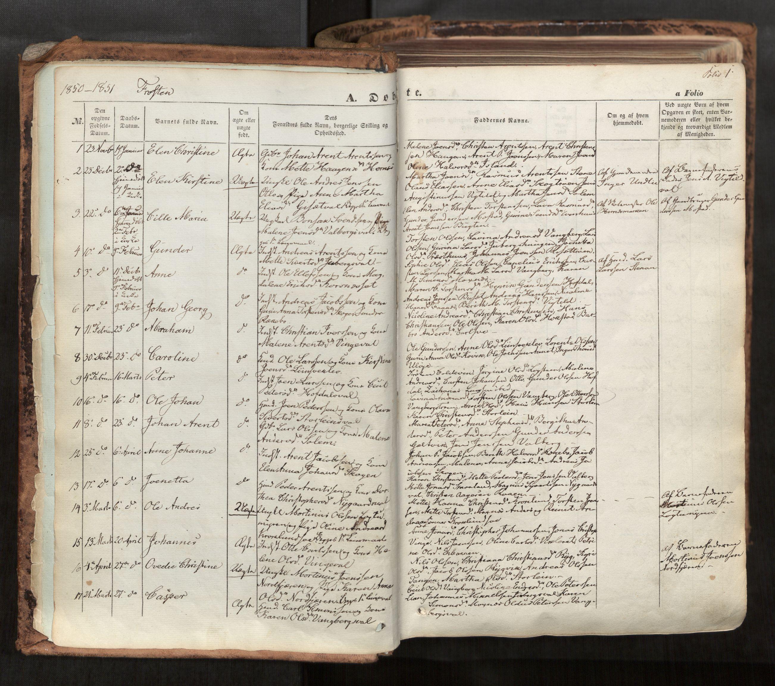 SAT, Ministerialprotokoller, klokkerbøker og fødselsregistre - Nord-Trøndelag, 713/L0116: Ministerialbok nr. 713A07, 1850-1877, s. 1