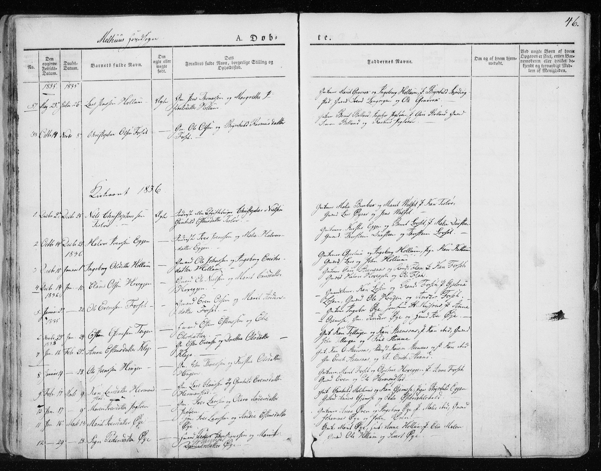 SAT, Ministerialprotokoller, klokkerbøker og fødselsregistre - Sør-Trøndelag, 691/L1069: Ministerialbok nr. 691A04, 1826-1841, s. 46