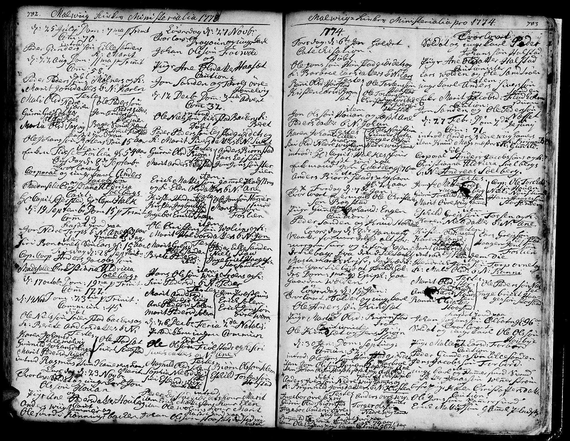 SAT, Ministerialprotokoller, klokkerbøker og fødselsregistre - Sør-Trøndelag, 606/L0277: Ministerialbok nr. 606A01 /3, 1727-1780, s. 702-703