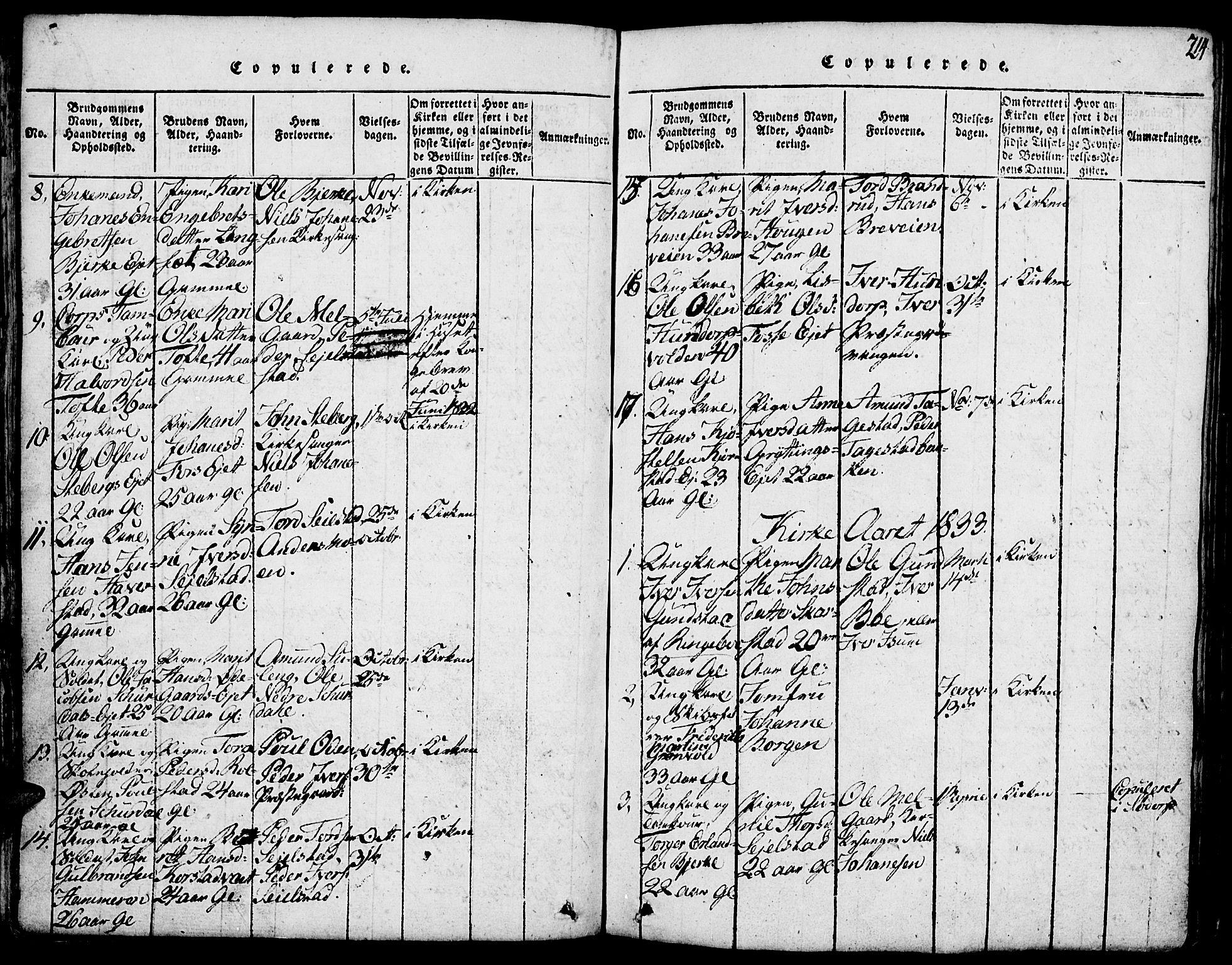 SAH, Fron prestekontor, H/Ha/Hab/L0001: Klokkerbok nr. 1, 1816-1843, s. 214
