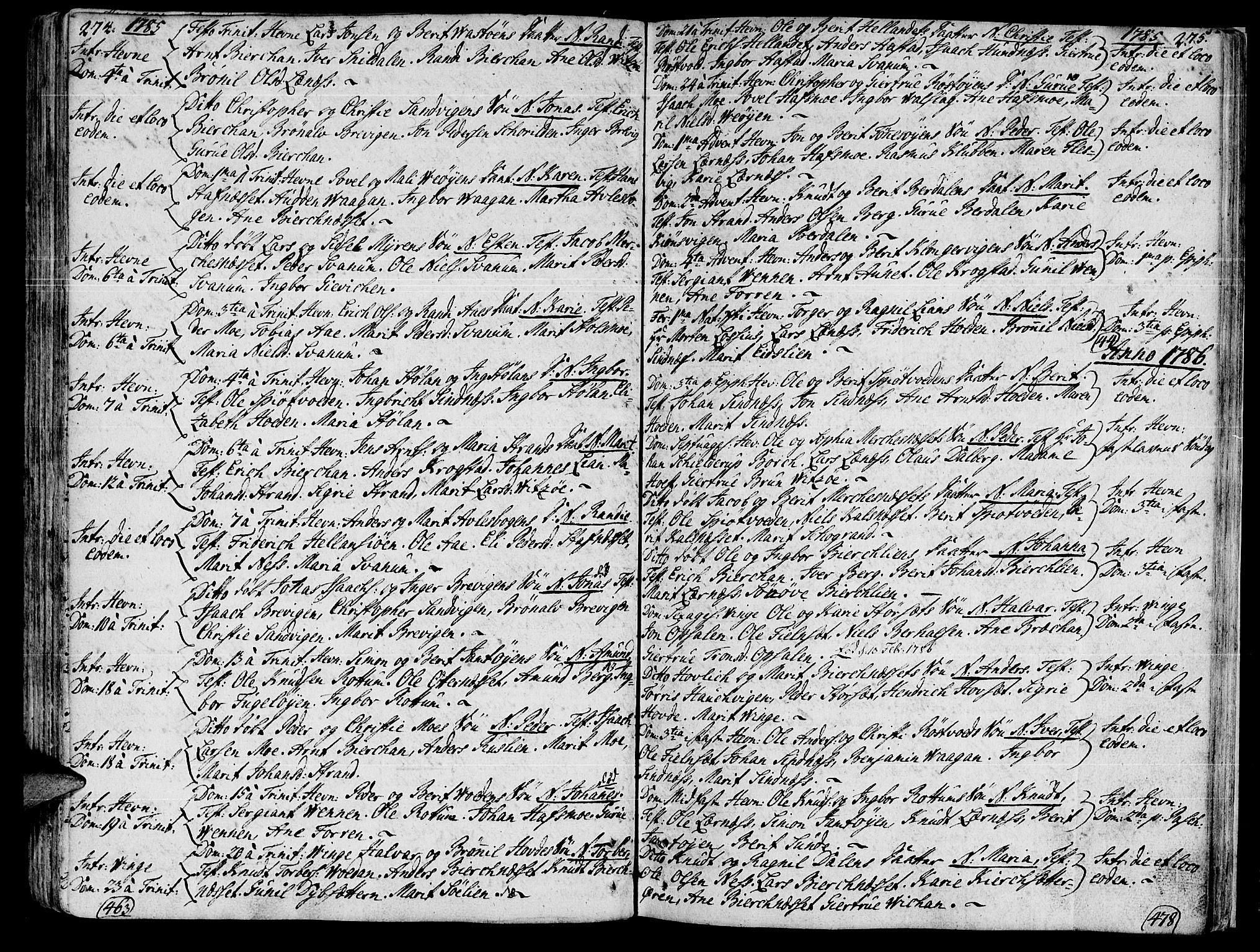 SAT, Ministerialprotokoller, klokkerbøker og fødselsregistre - Sør-Trøndelag, 630/L0489: Ministerialbok nr. 630A02, 1757-1794, s. 274-275