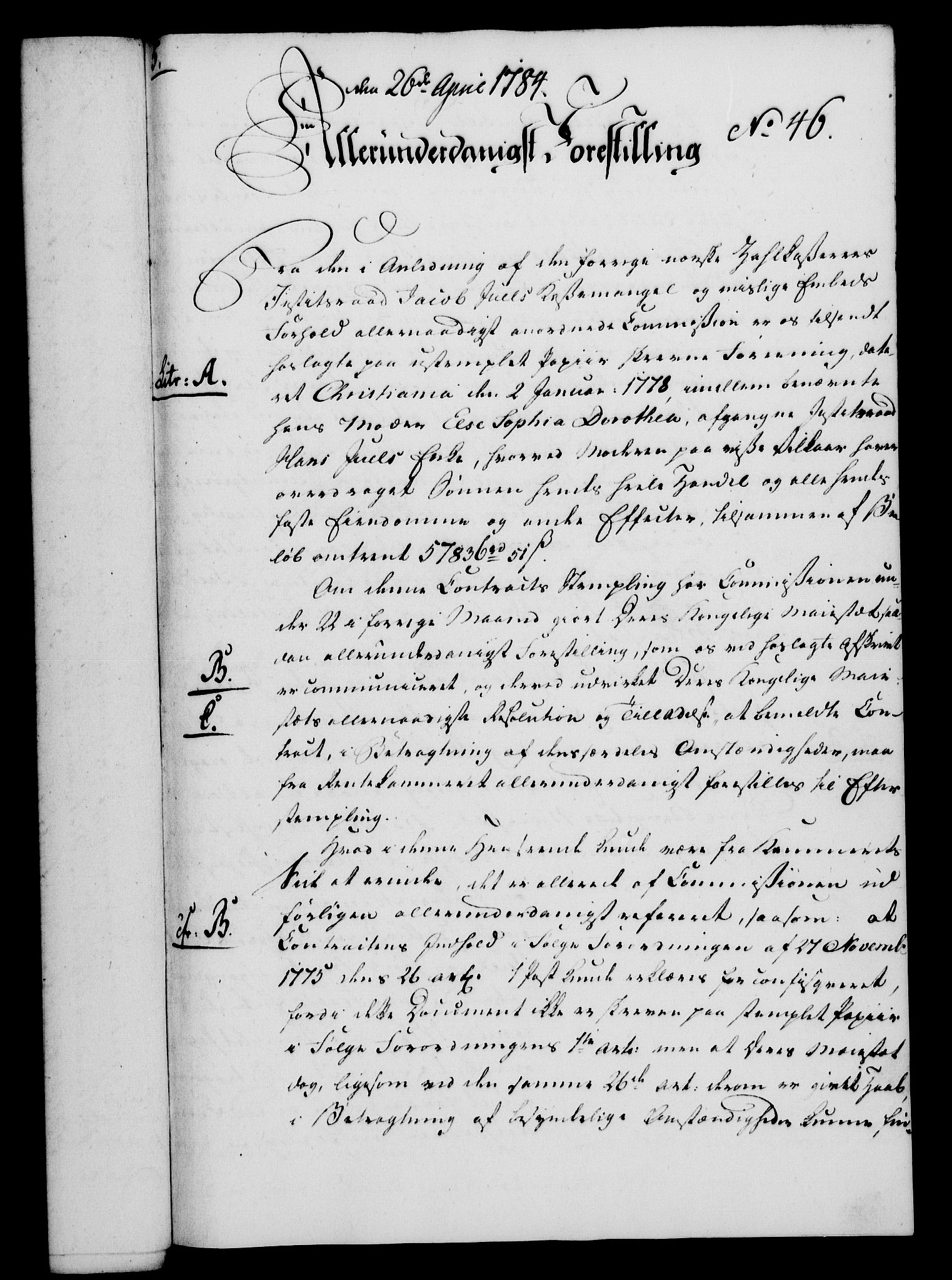 RA, Rentekammeret, Kammerkanselliet, G/Gf/Gfa/L0066: Norsk relasjons- og resolusjonsprotokoll (merket RK 52.66), 1784, s. 378