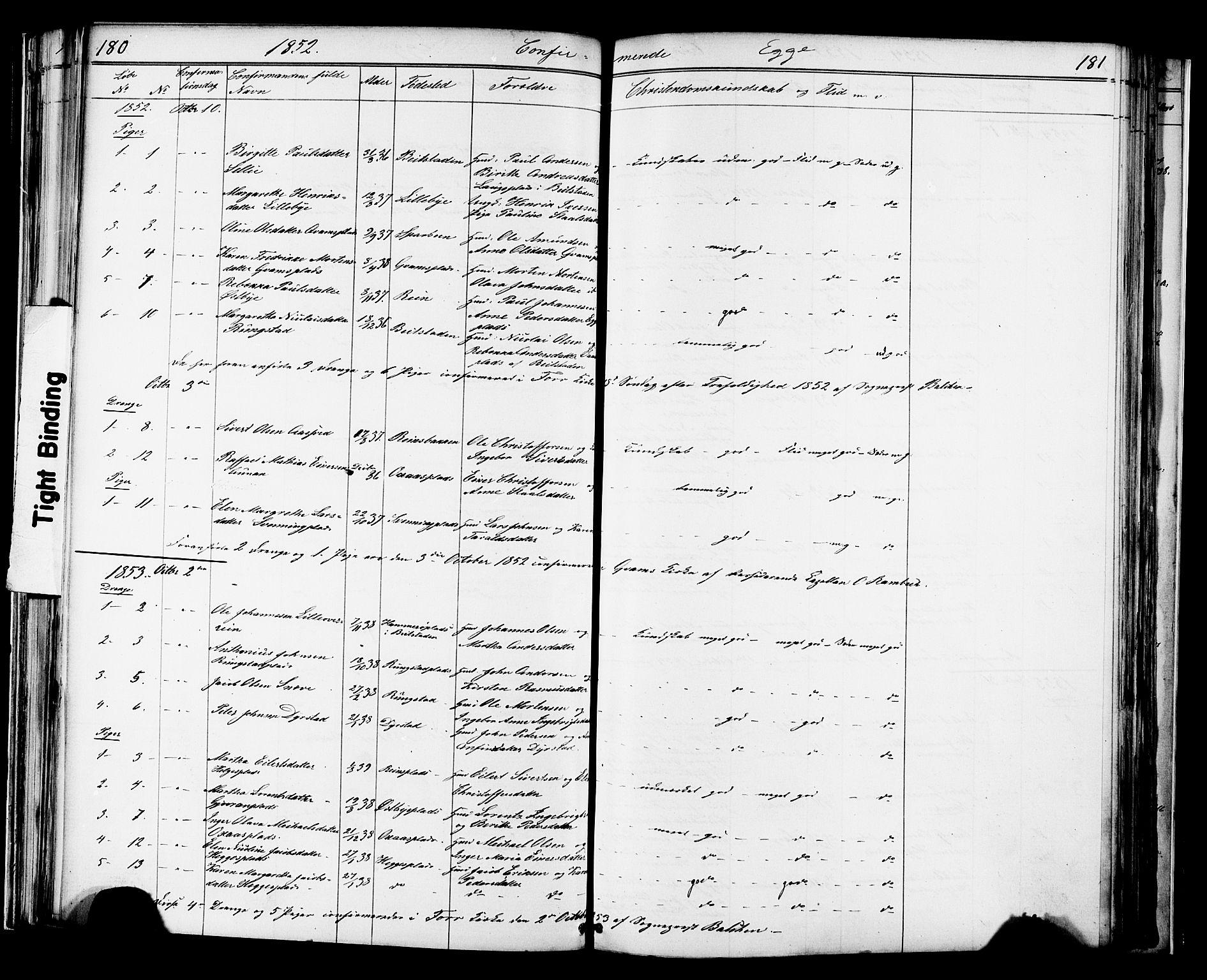 SAT, Ministerialprotokoller, klokkerbøker og fødselsregistre - Nord-Trøndelag, 739/L0367: Ministerialbok nr. 739A01 /3, 1838-1868, s. 180-181