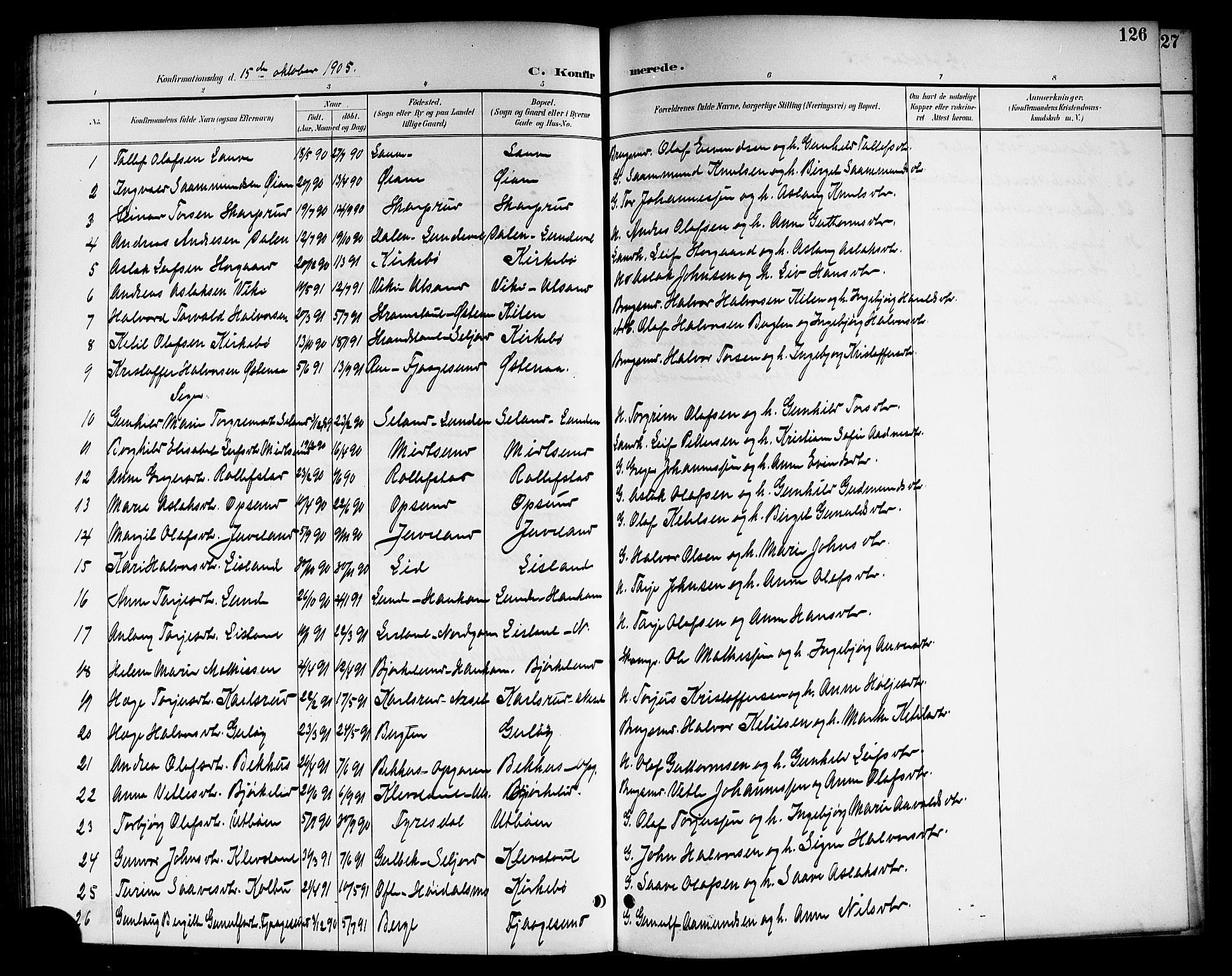 SAKO, Kviteseid kirkebøker, G/Ga/L0002: Klokkerbok nr. I 2, 1893-1918, s. 126