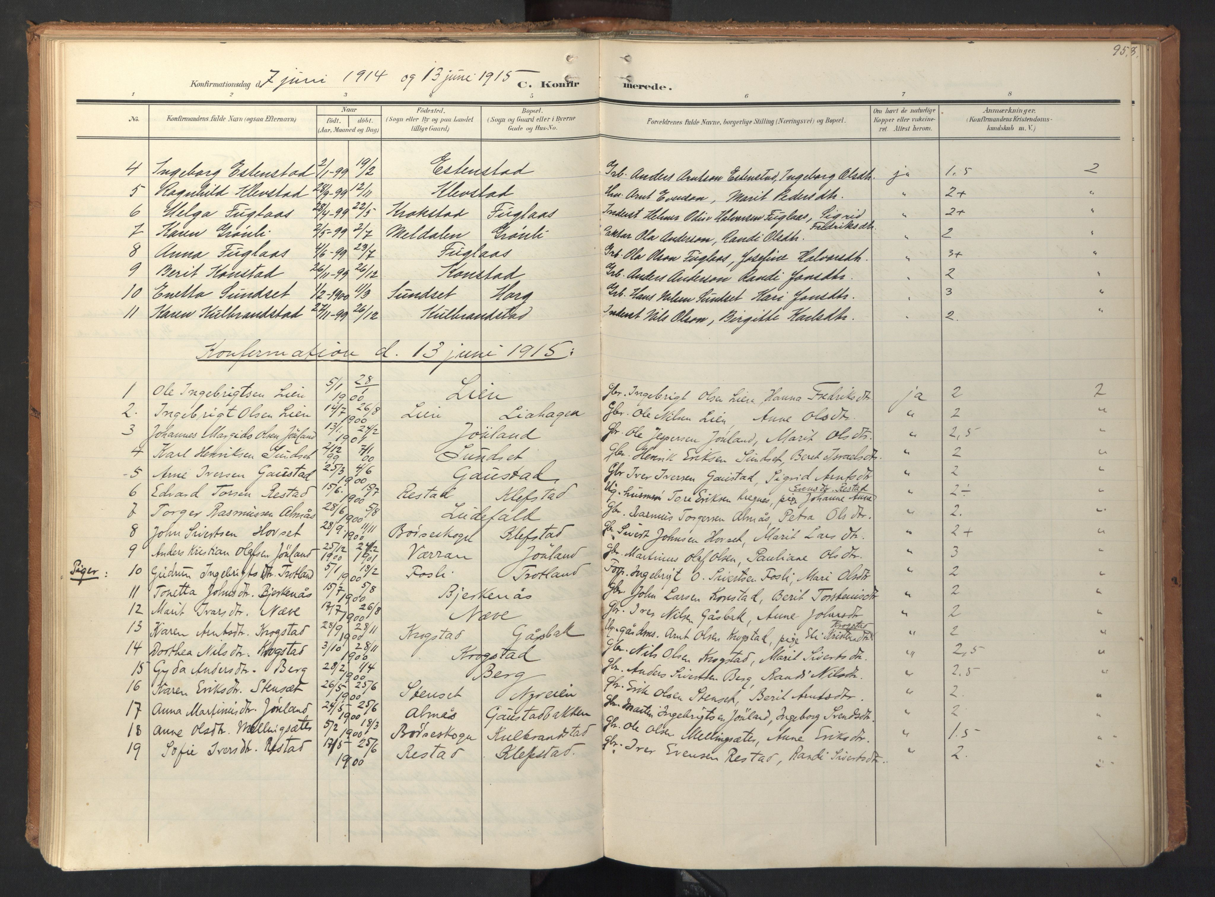 SAT, Ministerialprotokoller, klokkerbøker og fødselsregistre - Sør-Trøndelag, 694/L1128: Ministerialbok nr. 694A02, 1906-1931, s. 95
