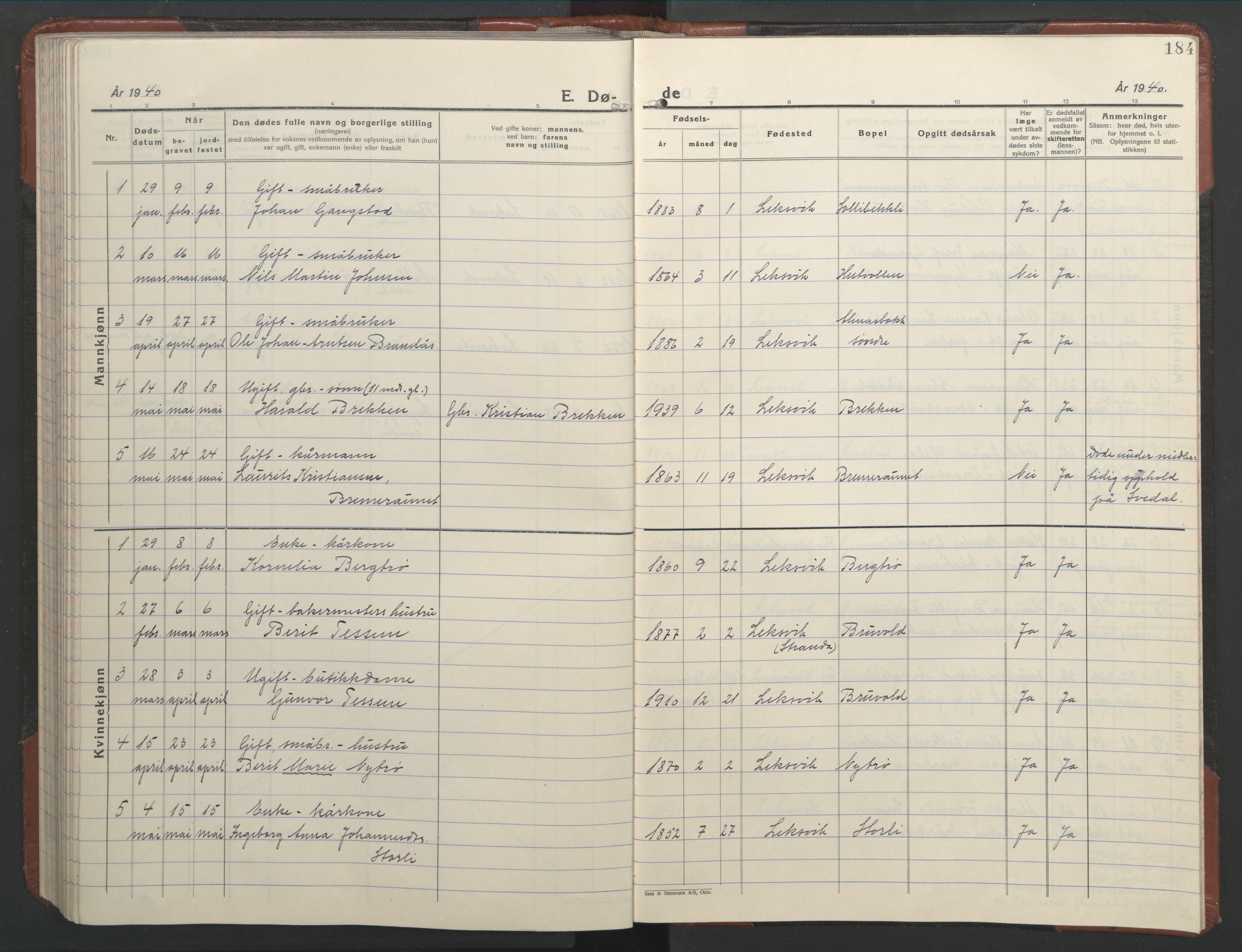 SAT, Ministerialprotokoller, klokkerbøker og fødselsregistre - Nord-Trøndelag, 701/L0019: Klokkerbok nr. 701C03, 1930-1953, s. 184