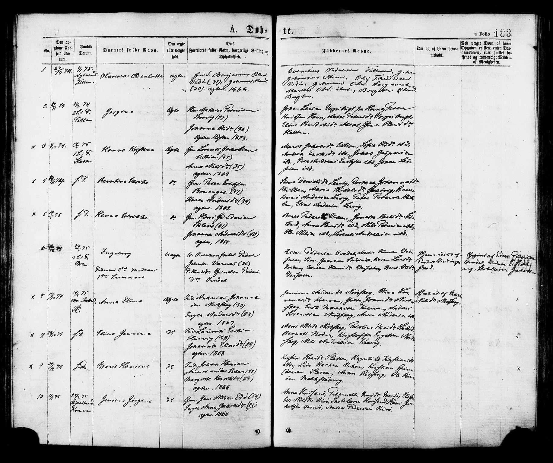 SAT, Ministerialprotokoller, klokkerbøker og fødselsregistre - Sør-Trøndelag, 634/L0532: Ministerialbok nr. 634A08, 1871-1881, s. 183