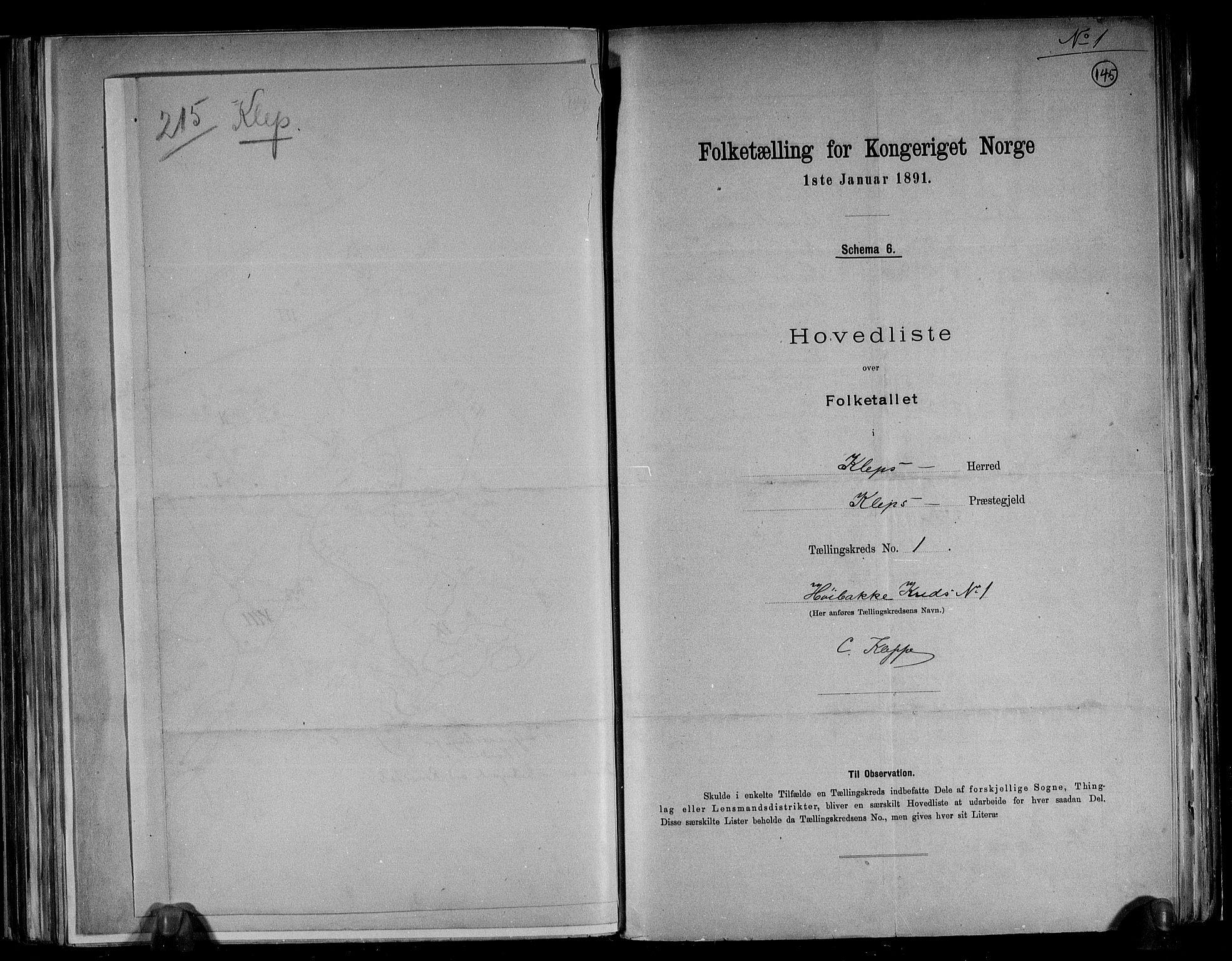 RA, Folketelling 1891 for 1120 Klepp herred, 1891, s. 6
