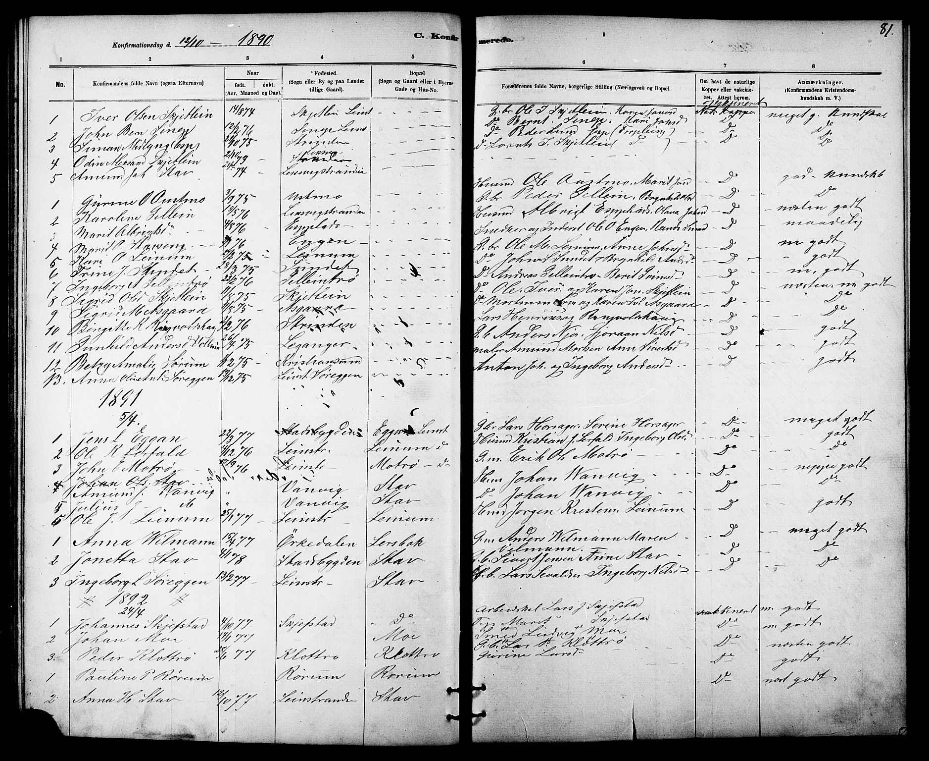 SAT, Ministerialprotokoller, klokkerbøker og fødselsregistre - Sør-Trøndelag, 613/L0395: Klokkerbok nr. 613C03, 1887-1909, s. 81
